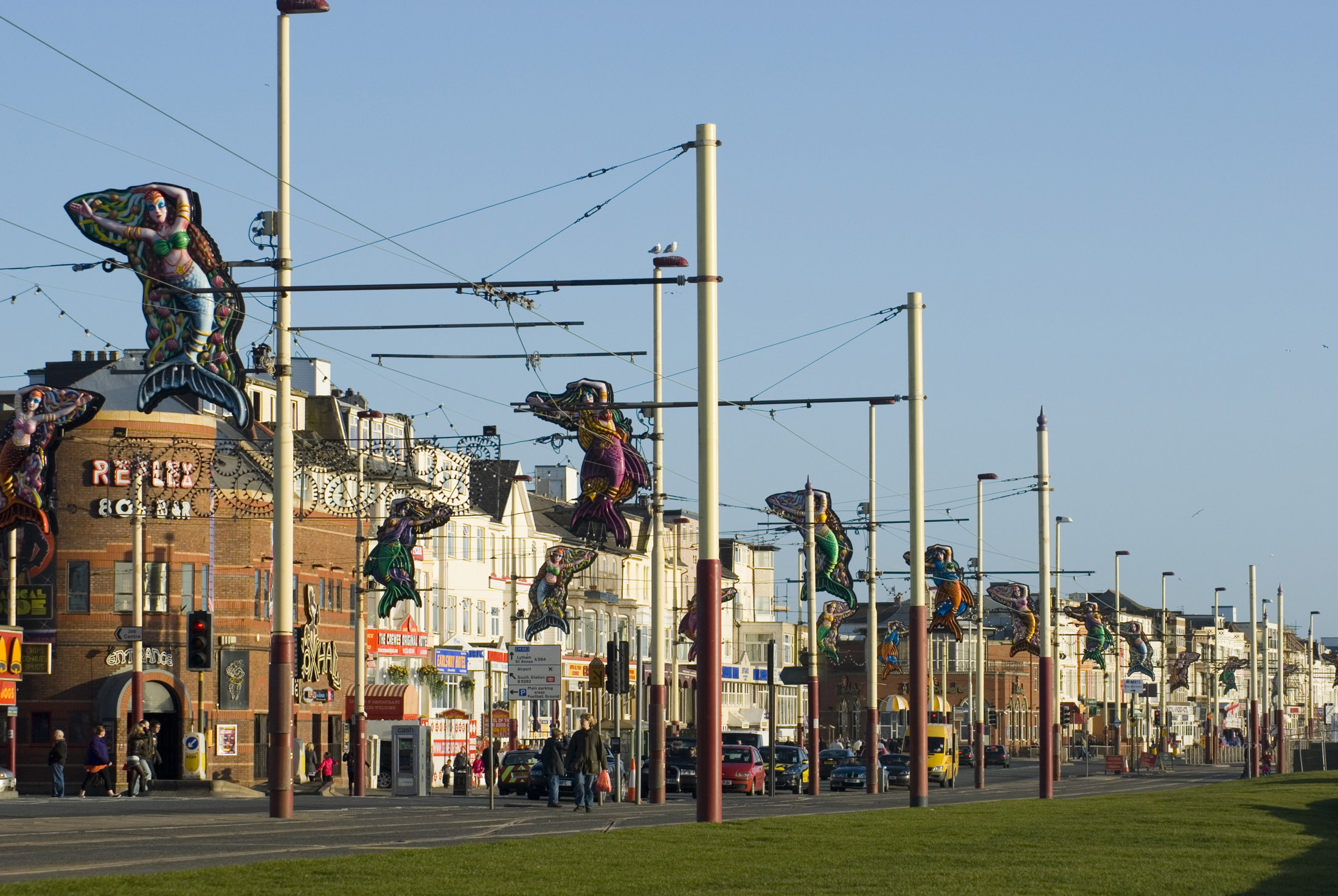 streetlights on blackpool promendade all set up for the annual illuminations