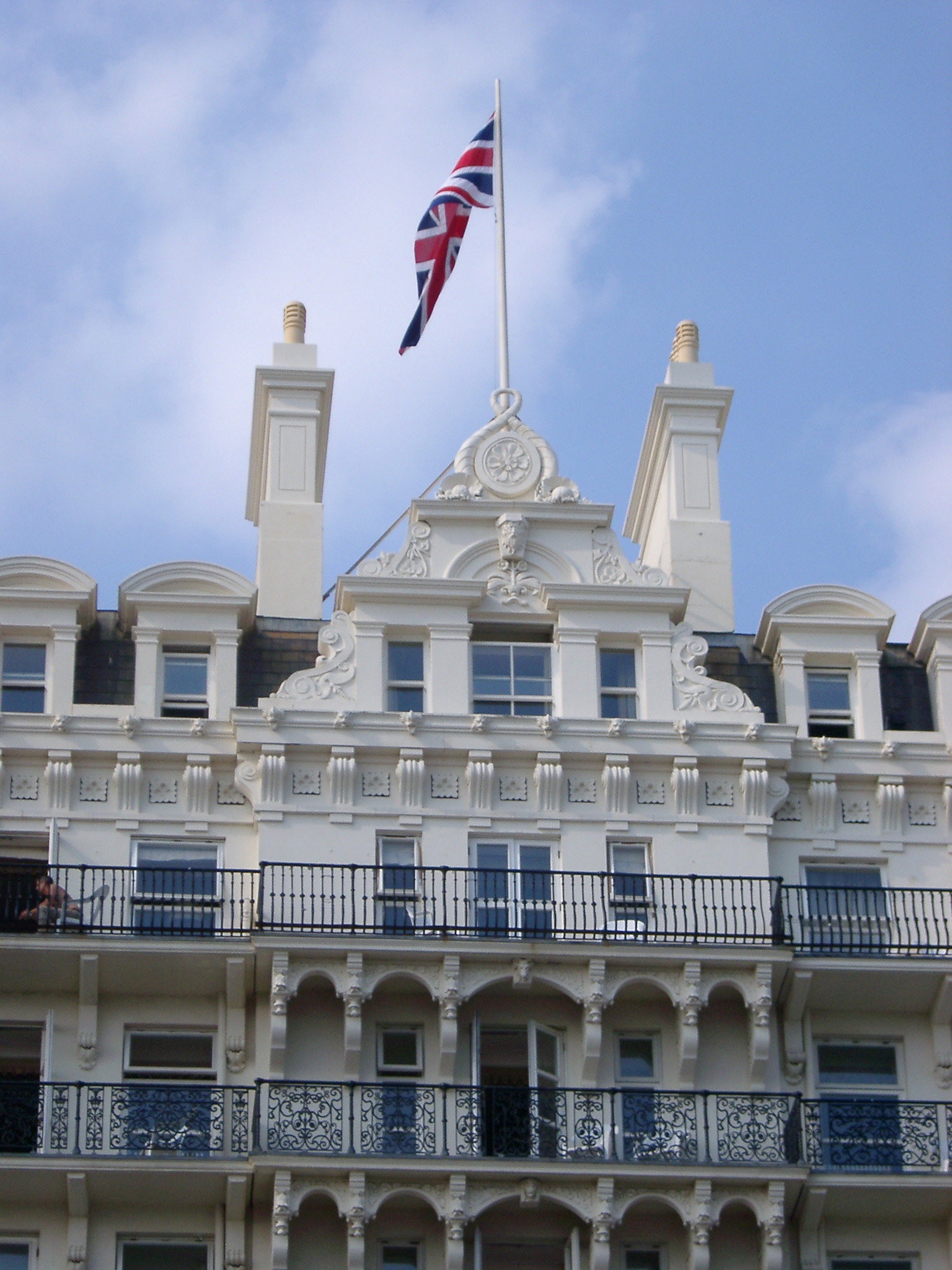 Close Up of Union Jack Flag on Top of Grand Hotel, Brighton, England