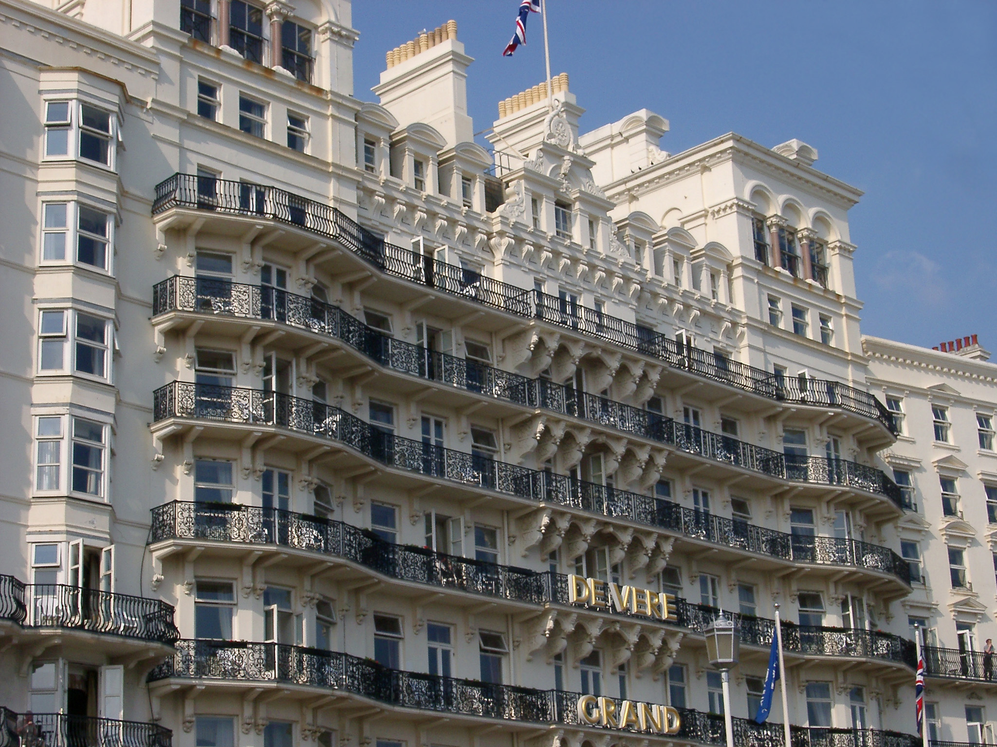 Huge Historic Architectural Victorian Sea Front Grand Hotel at Brighton in the South Coast of England.