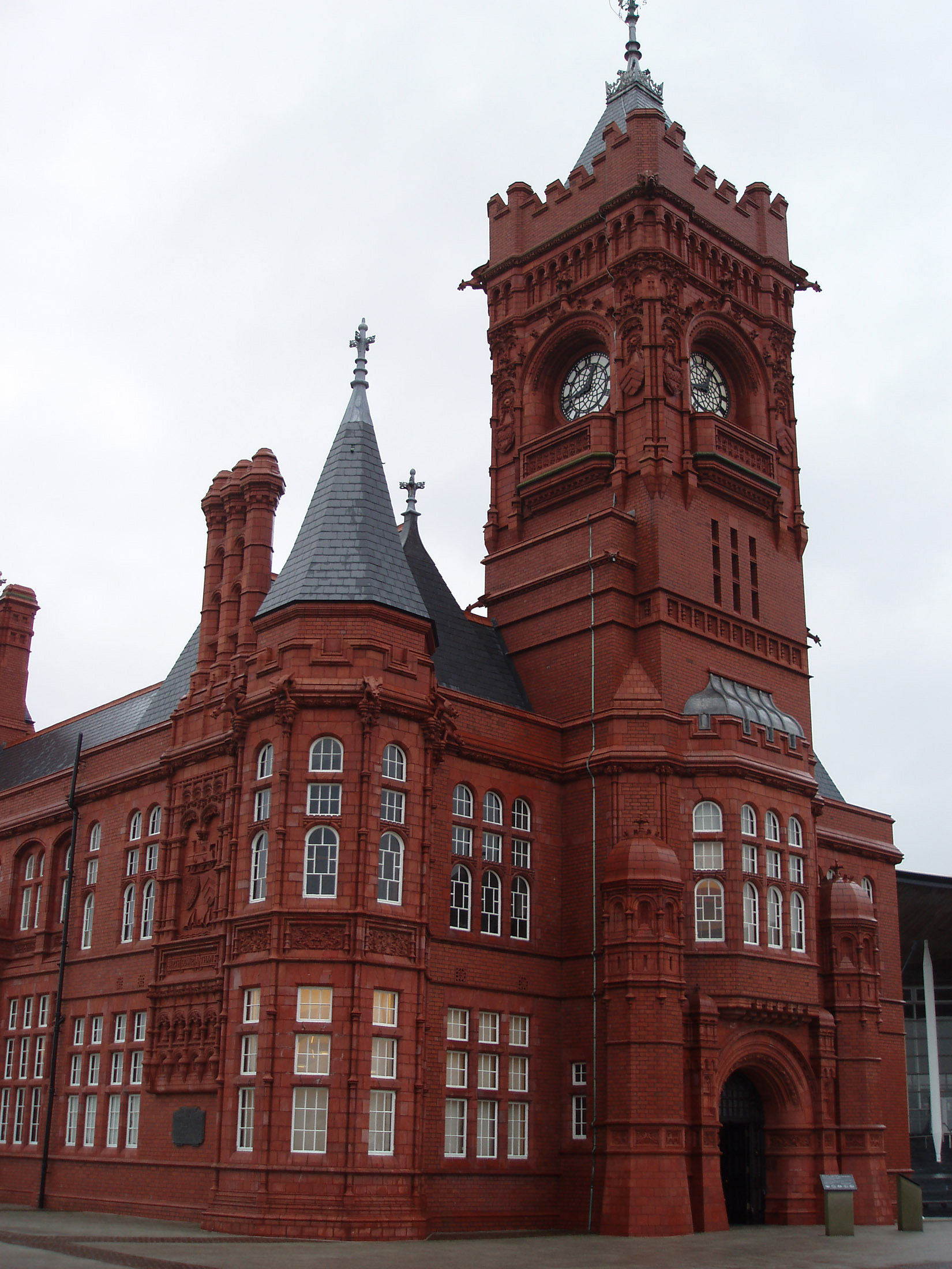 Architectural Pierhead Building - Famous Landmark in Cardiff Bay, Wales. The clock on the building is unofficially known as the Baby Big Ben or the Big Ben of Wales.