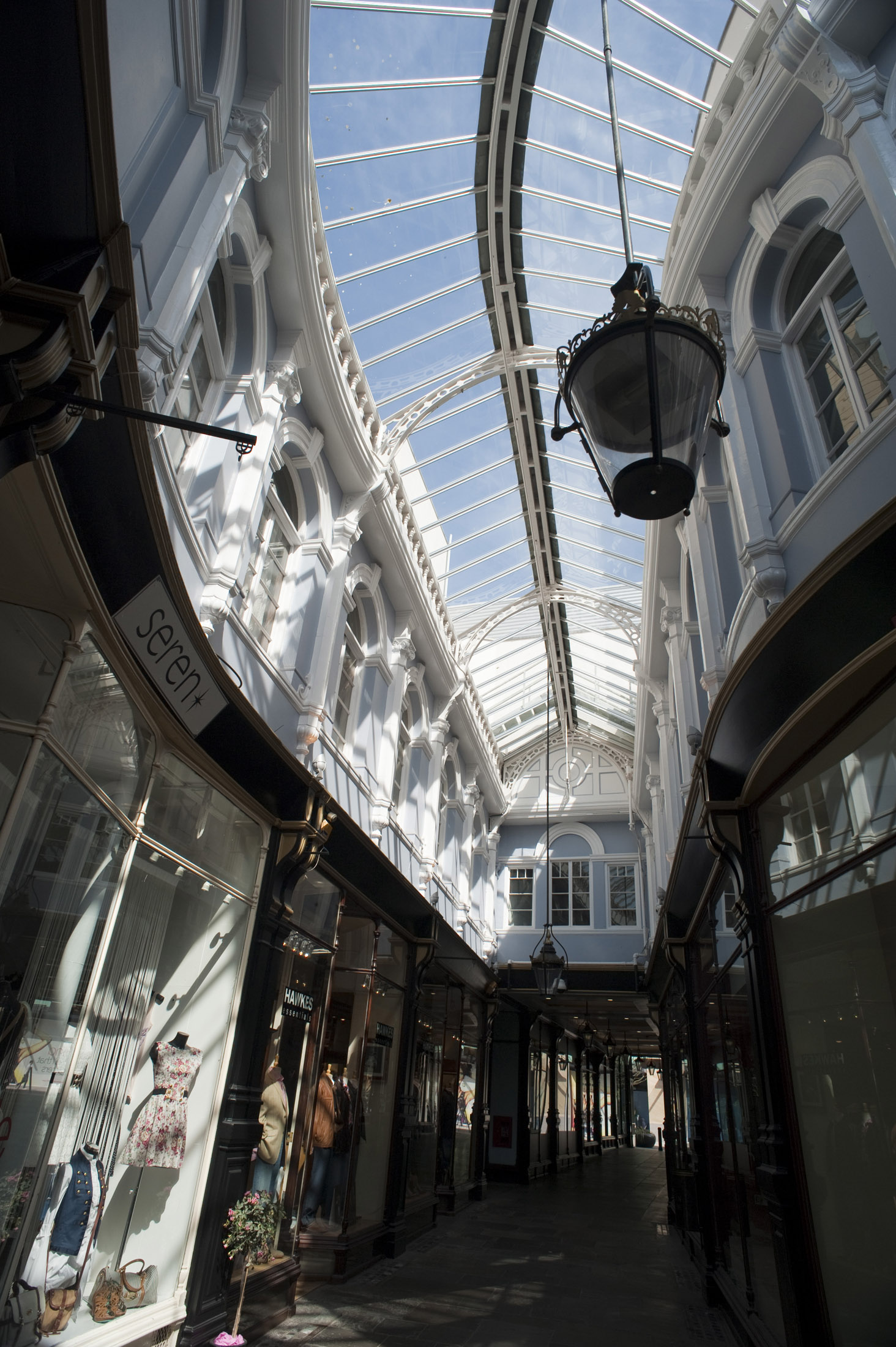 curved glass roof of cardiffs morgan shopping arcade