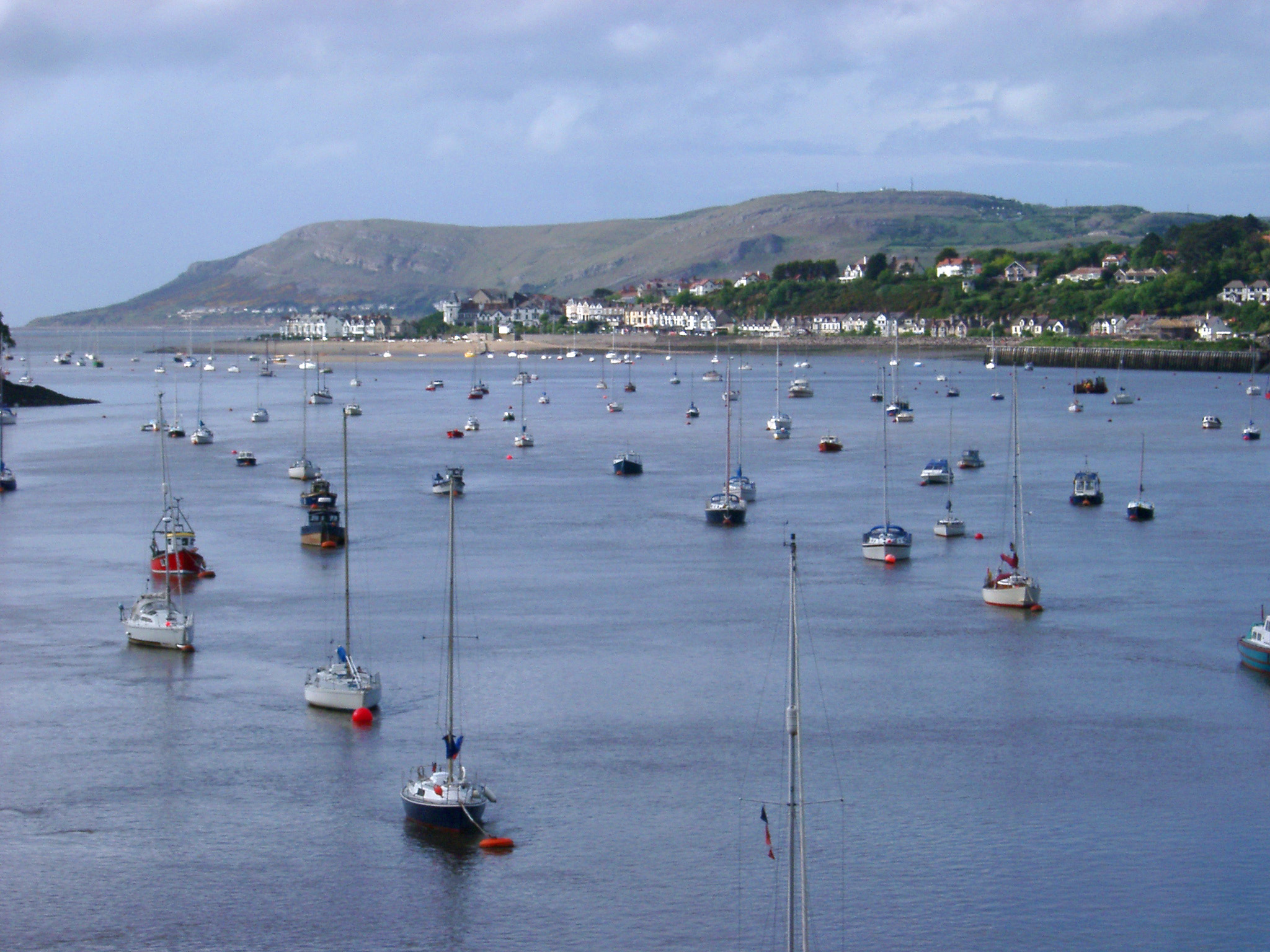 free stock photo of boats at anchor on river conwy wales