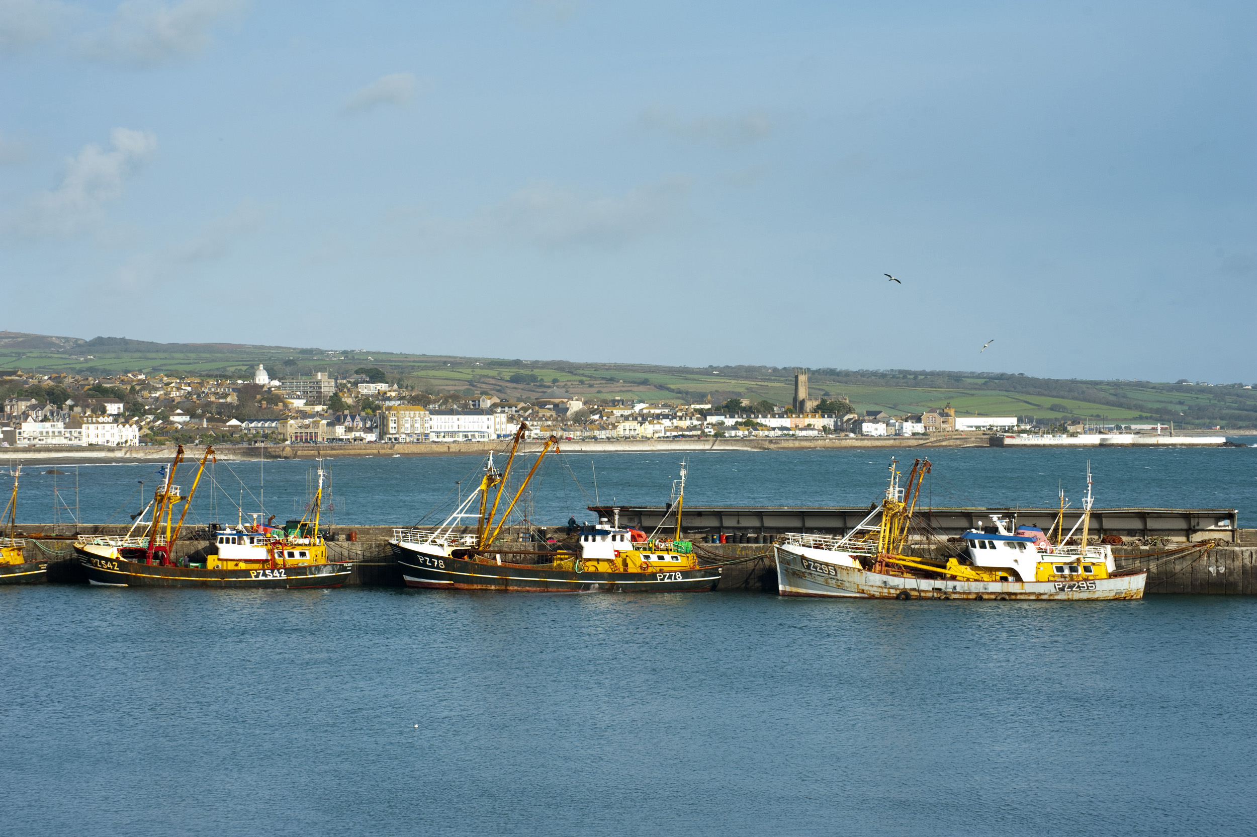 Looking out across newlyn harbour towards the town of penzance, cornwall