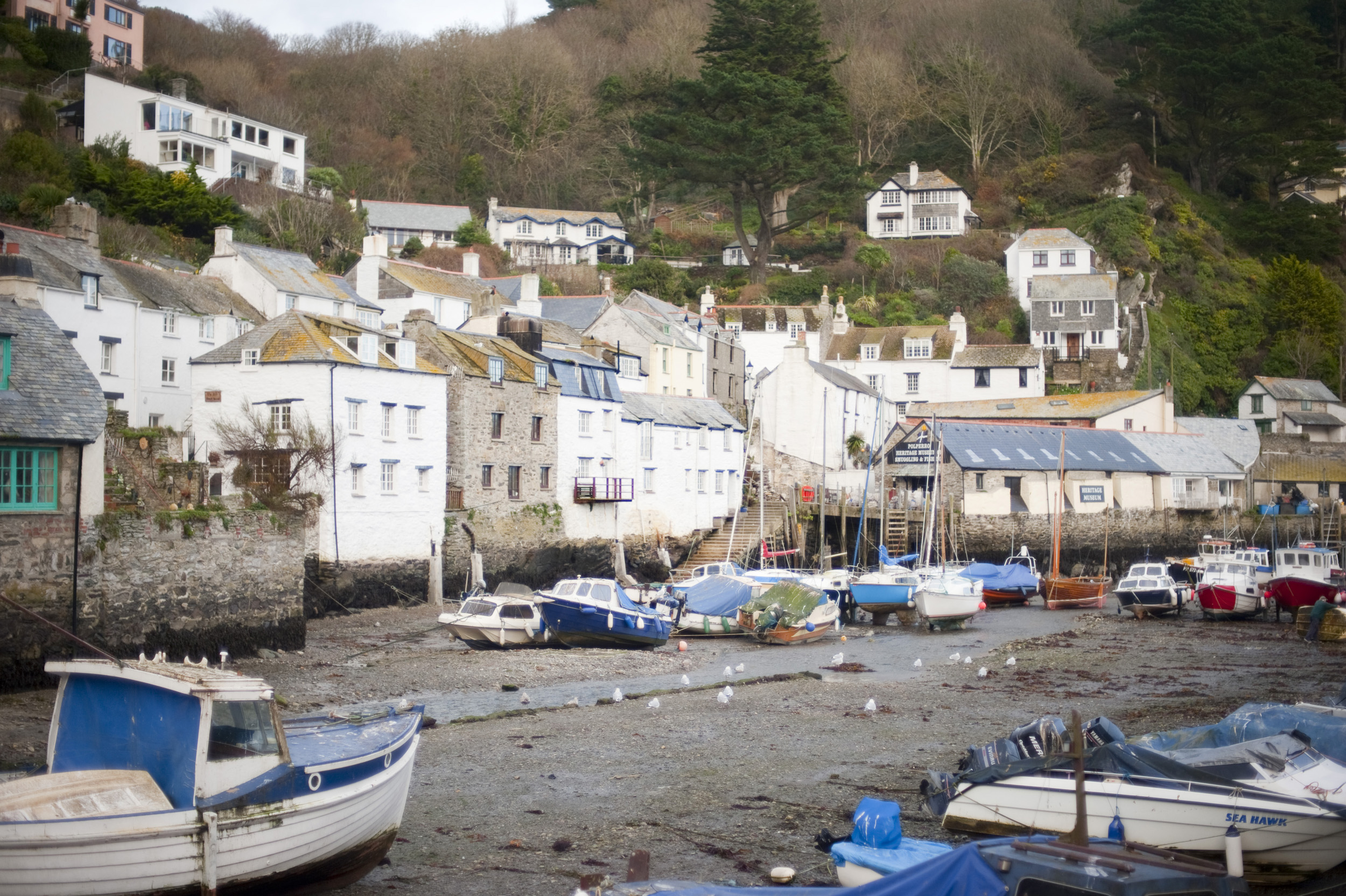 a typical cornish fishing village scene, polperro