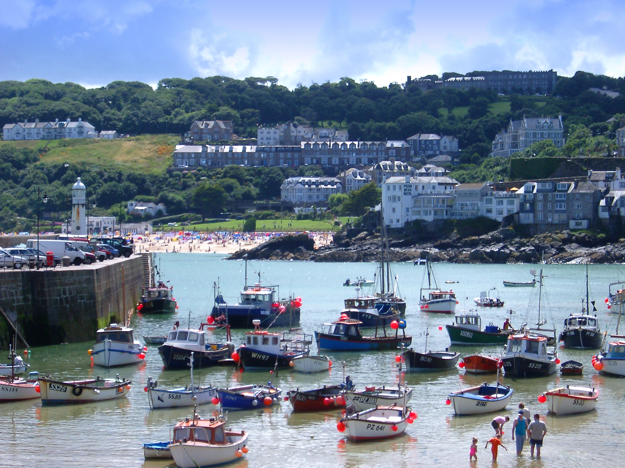 boats in the harbour at st ives, cornwall