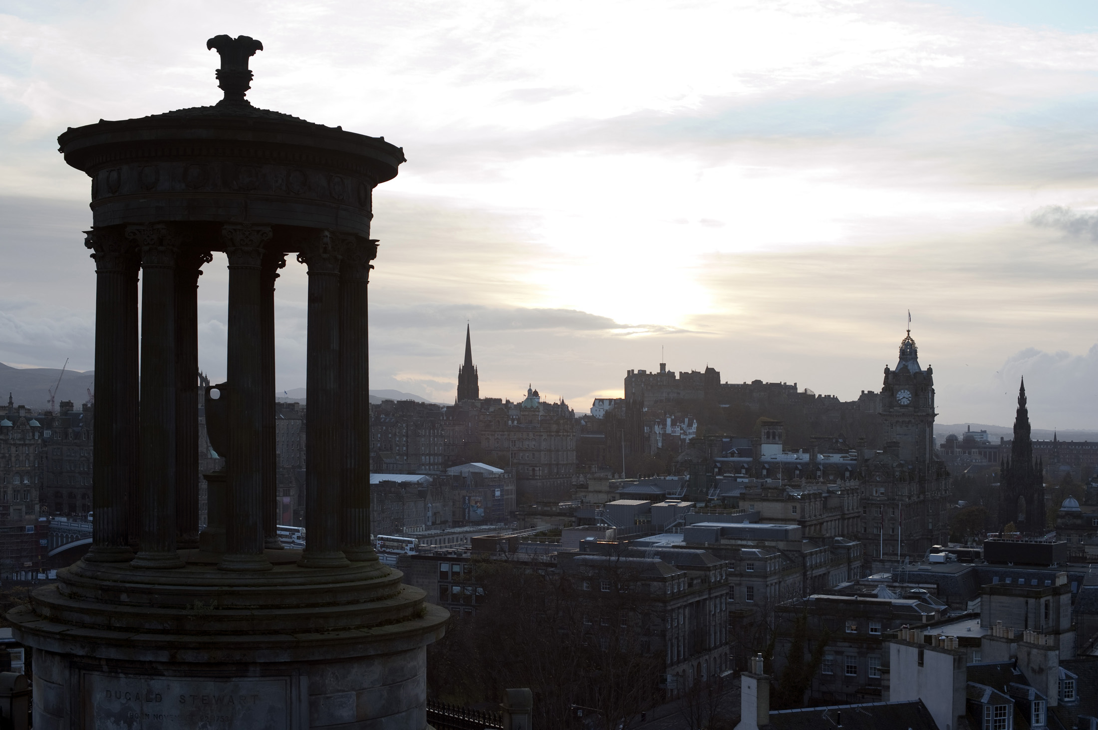 Dugald Stewart Monument and the skyline of old smokey