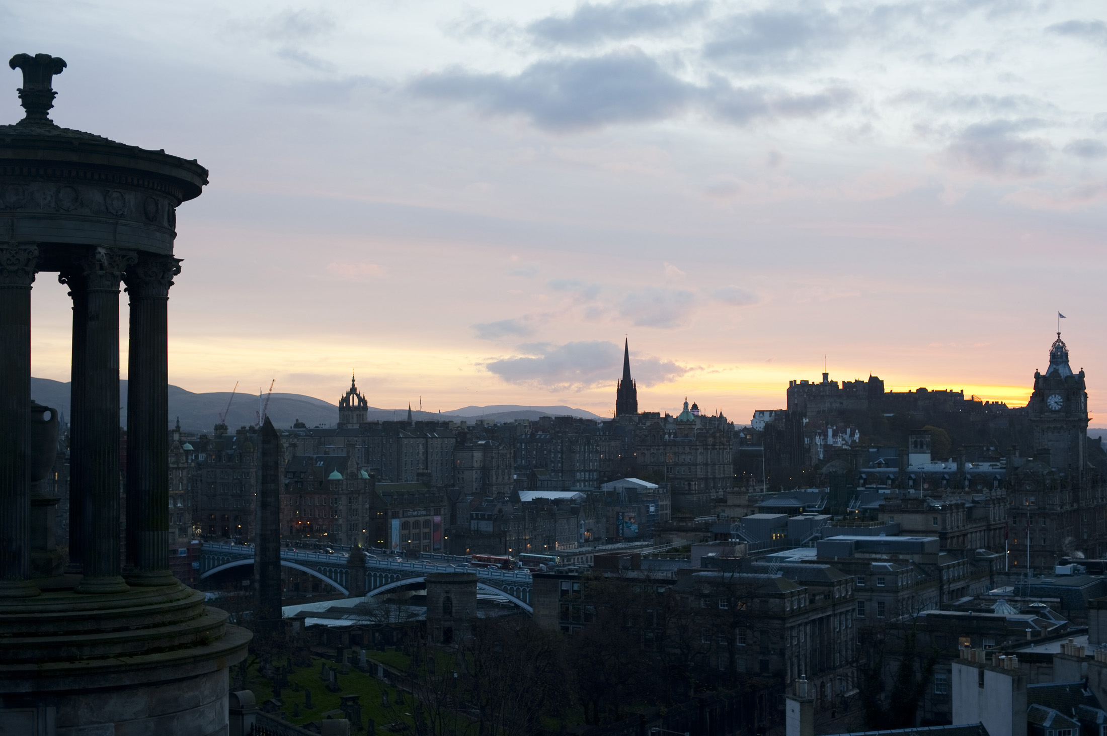 Edinburgh skyline nicknamed the Athens of the North of Old Smokey