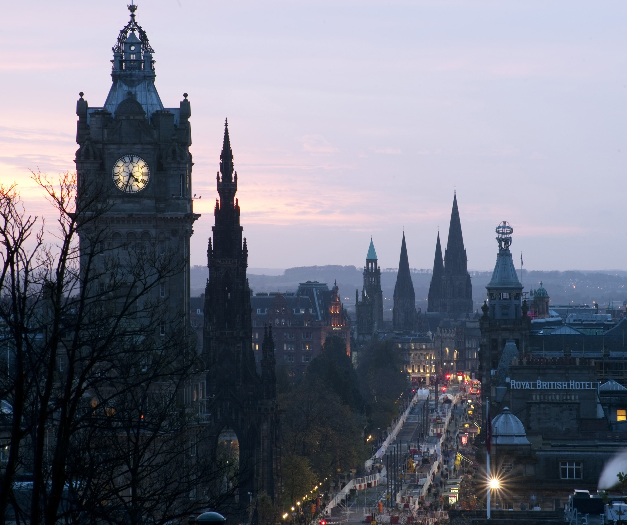 Skyline of spires and towers along princes street Edinburgh, the so called Athens of the North