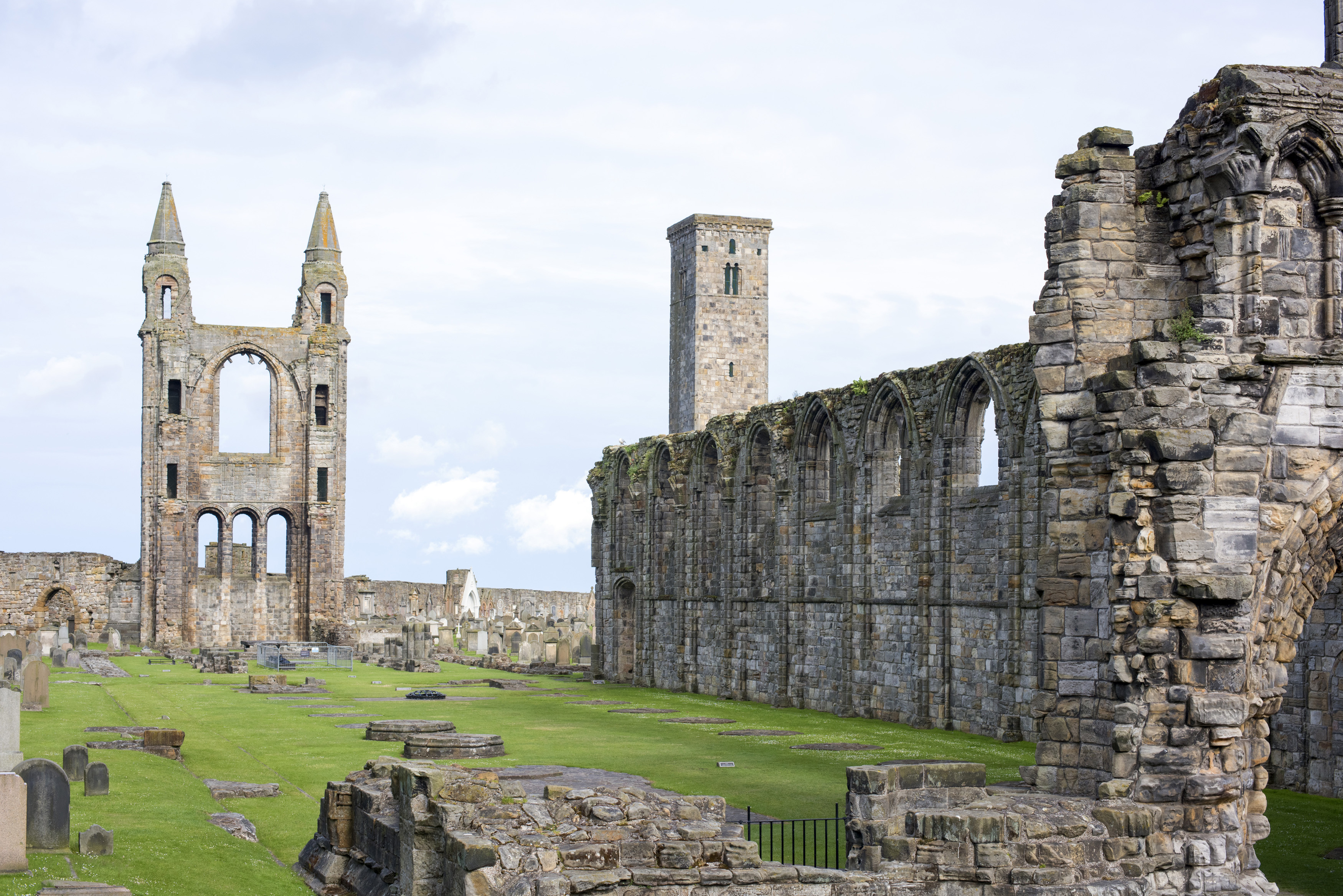 Old ruins with windows and doorway at front of Saint Andrews cathedral in Scotland