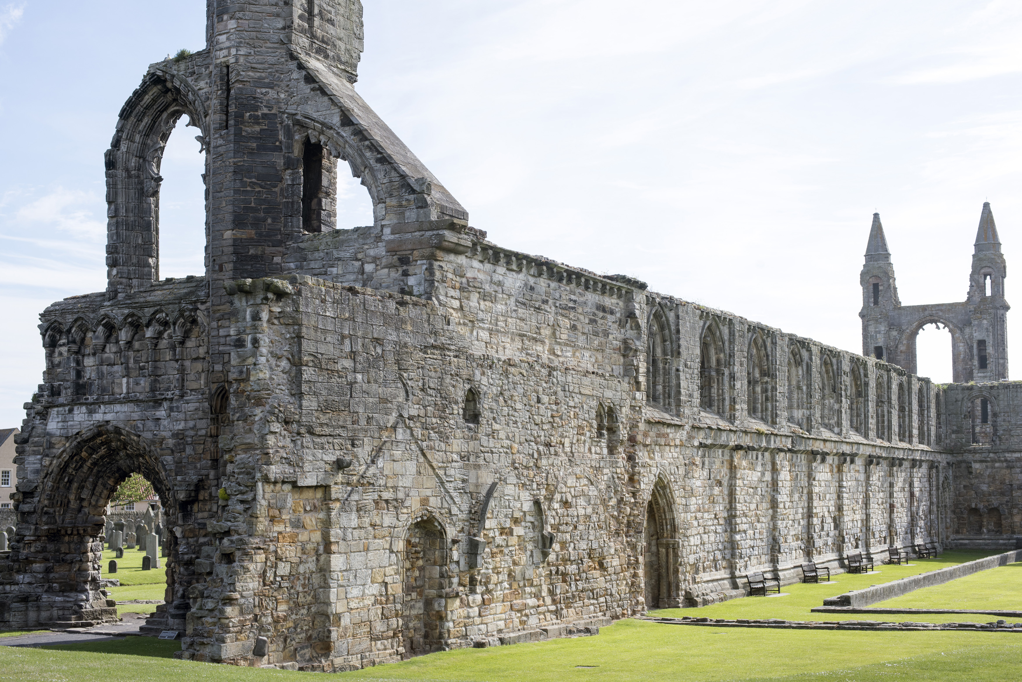 Remnants of the ancient stone medieval nave of the ruined St Andrews Cathedral, St Andrews, Scotland