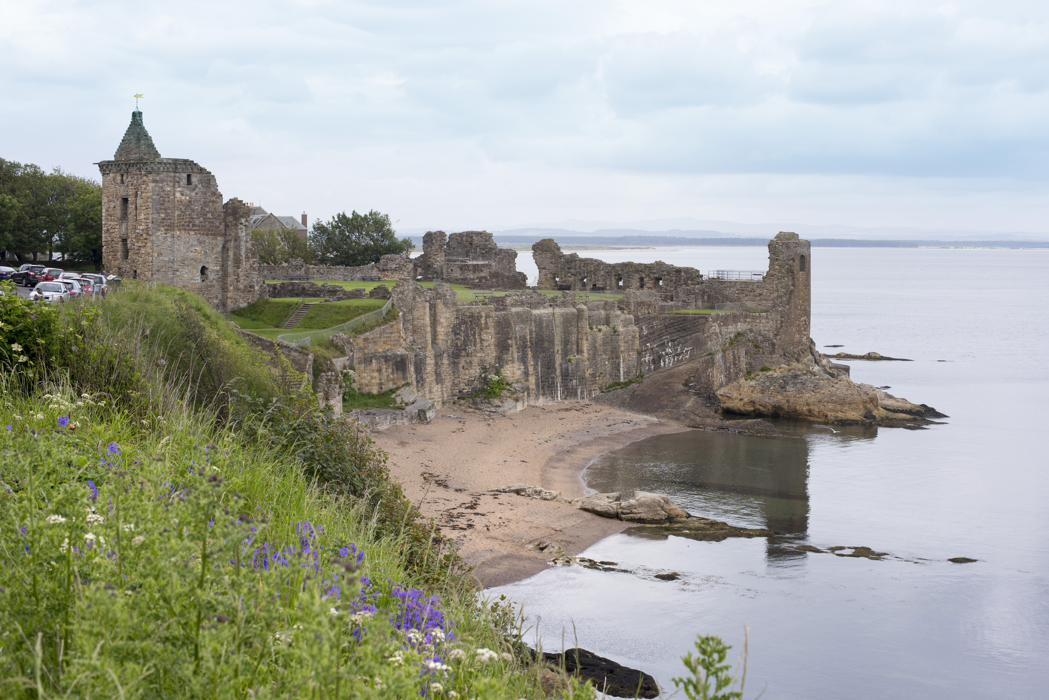 Shorefront ruins of old historic castle at the waters edge on the fife coast, in Saint Andrews, Scotland