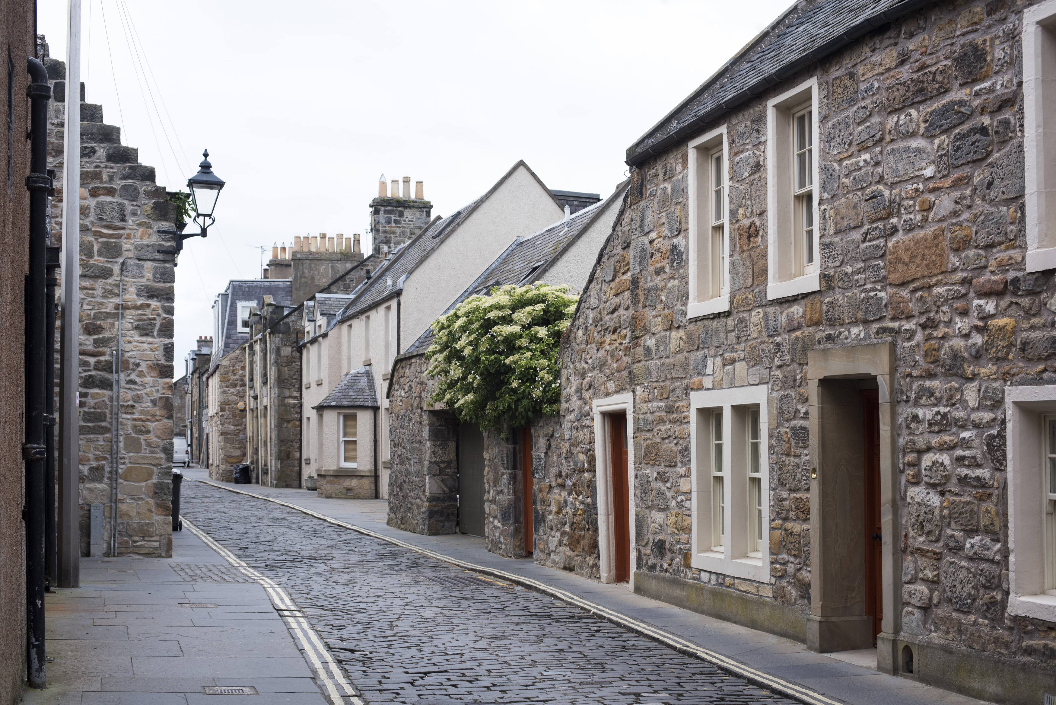 old cobble or set stone streets in st andrews, fife, scotland