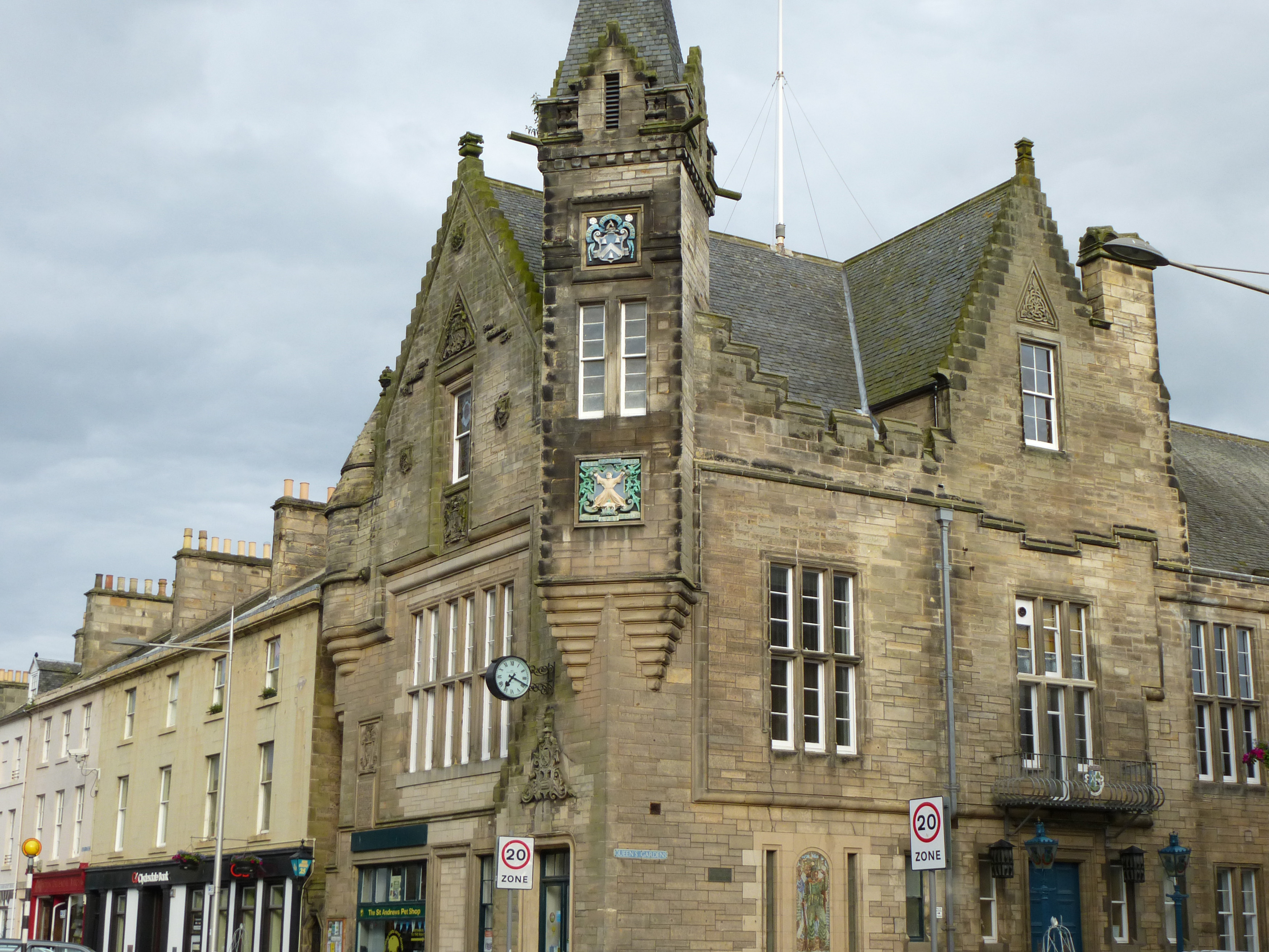 Exterior facade of the town hall St Andrews, Fife , Scotland, a historic landmark in a cropped close up view