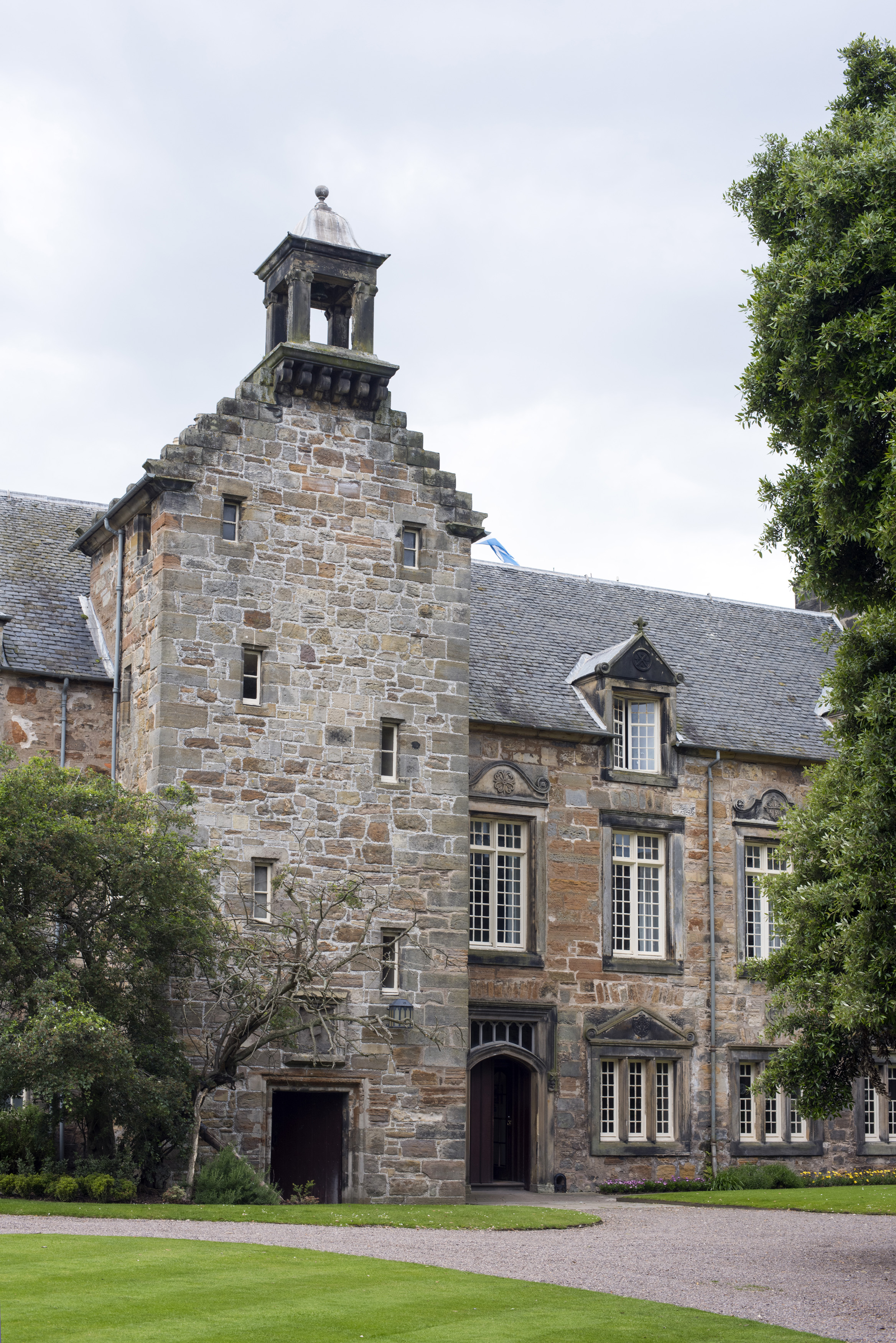 University of Saint Andrews with small windows and a bell tower above the entryway