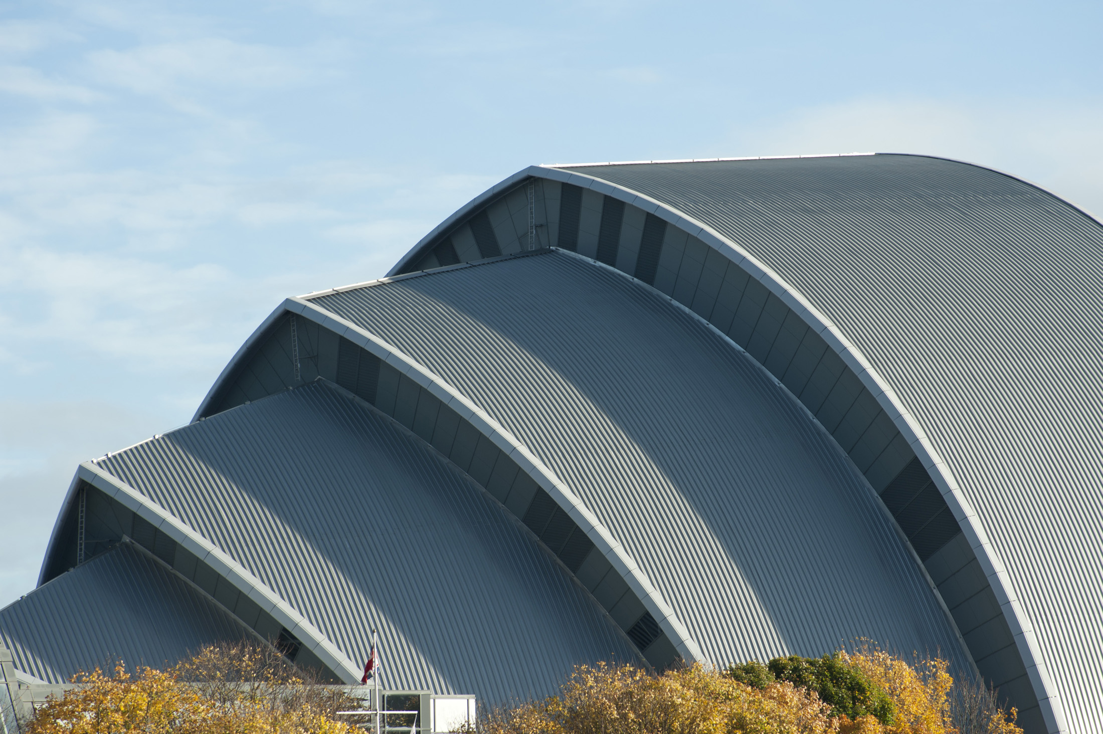 Exterior facade of the distinctive SECC or Scottish Exhibition and Conference Centre in Glasgow on the River Clyde which is Scotlands largest exhibition centre