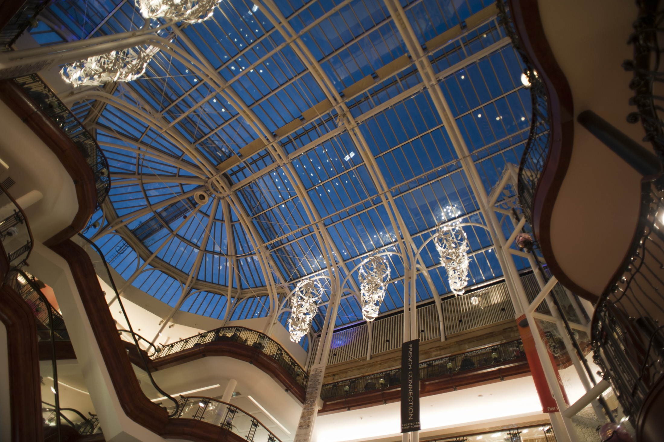 View of the domed and vaulted glass roof of the Princes Square Shopping Centre, Glasgow