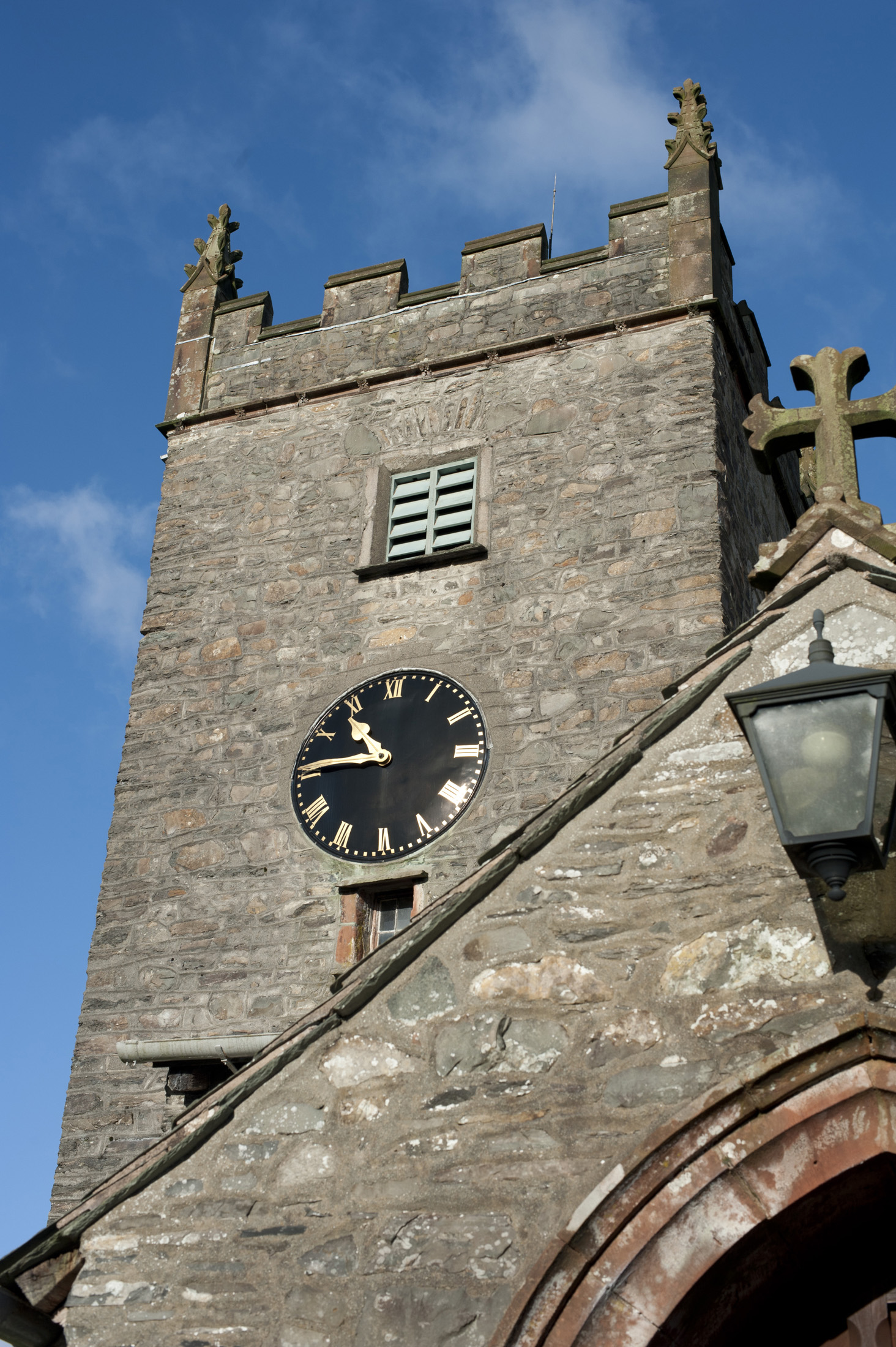 The tower of St Michael and All Angels church, hawkshead, cumbria