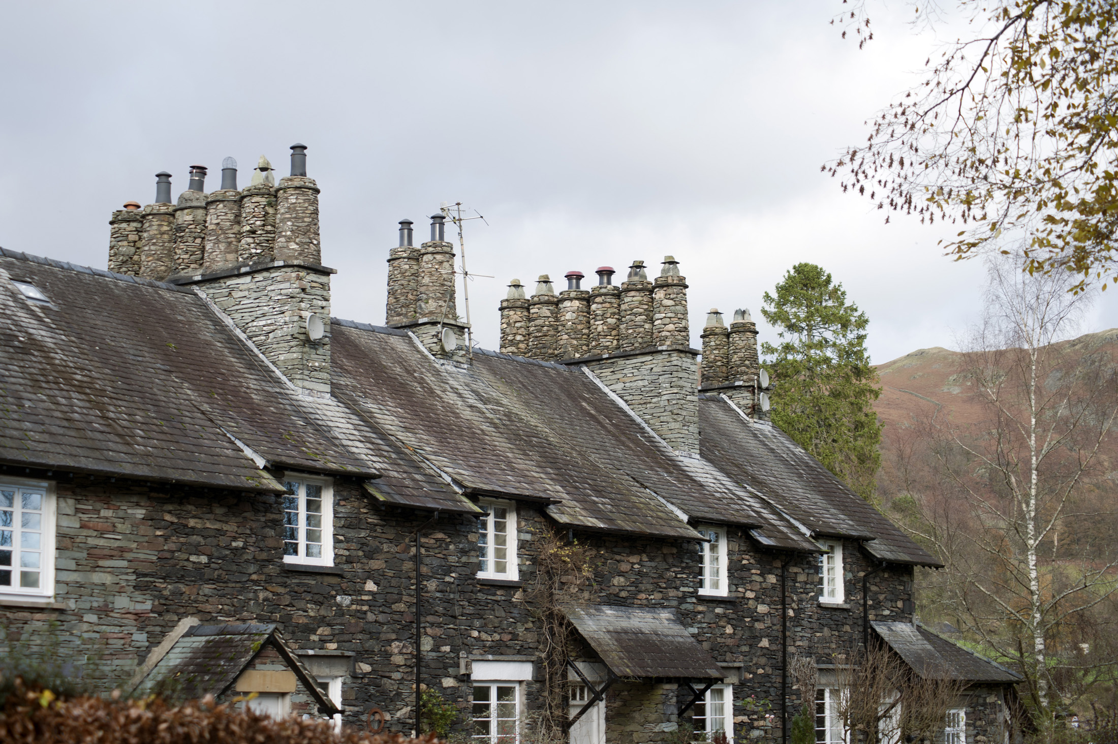 Typical English stone cottages at Skelwith Bridge in the Lake District in Cumbria an area popular with tourists and sightseers