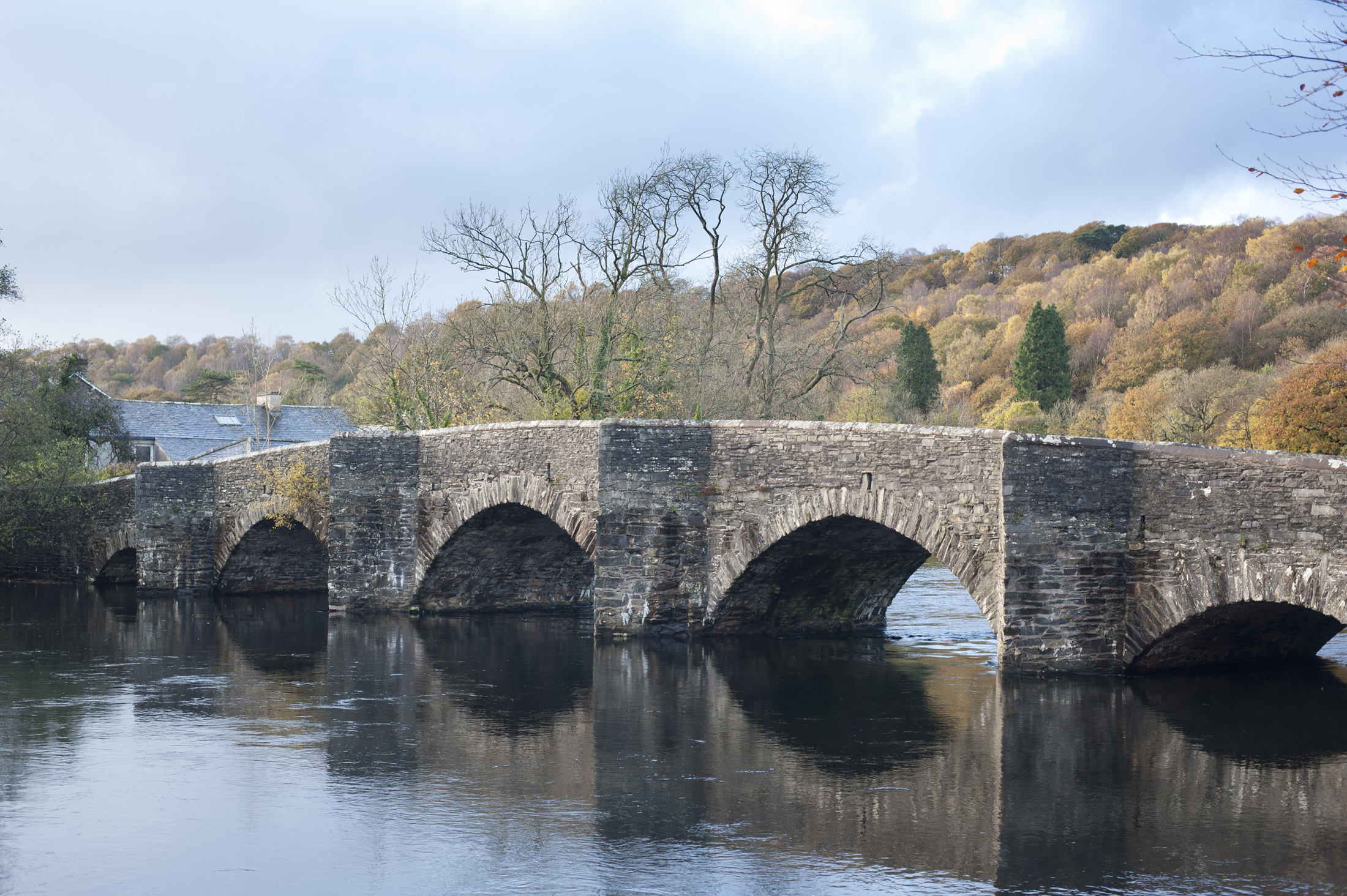 Newby Bridge in Cumbria, England on the River Leven, close to the southern end of Windermere in the Lake District