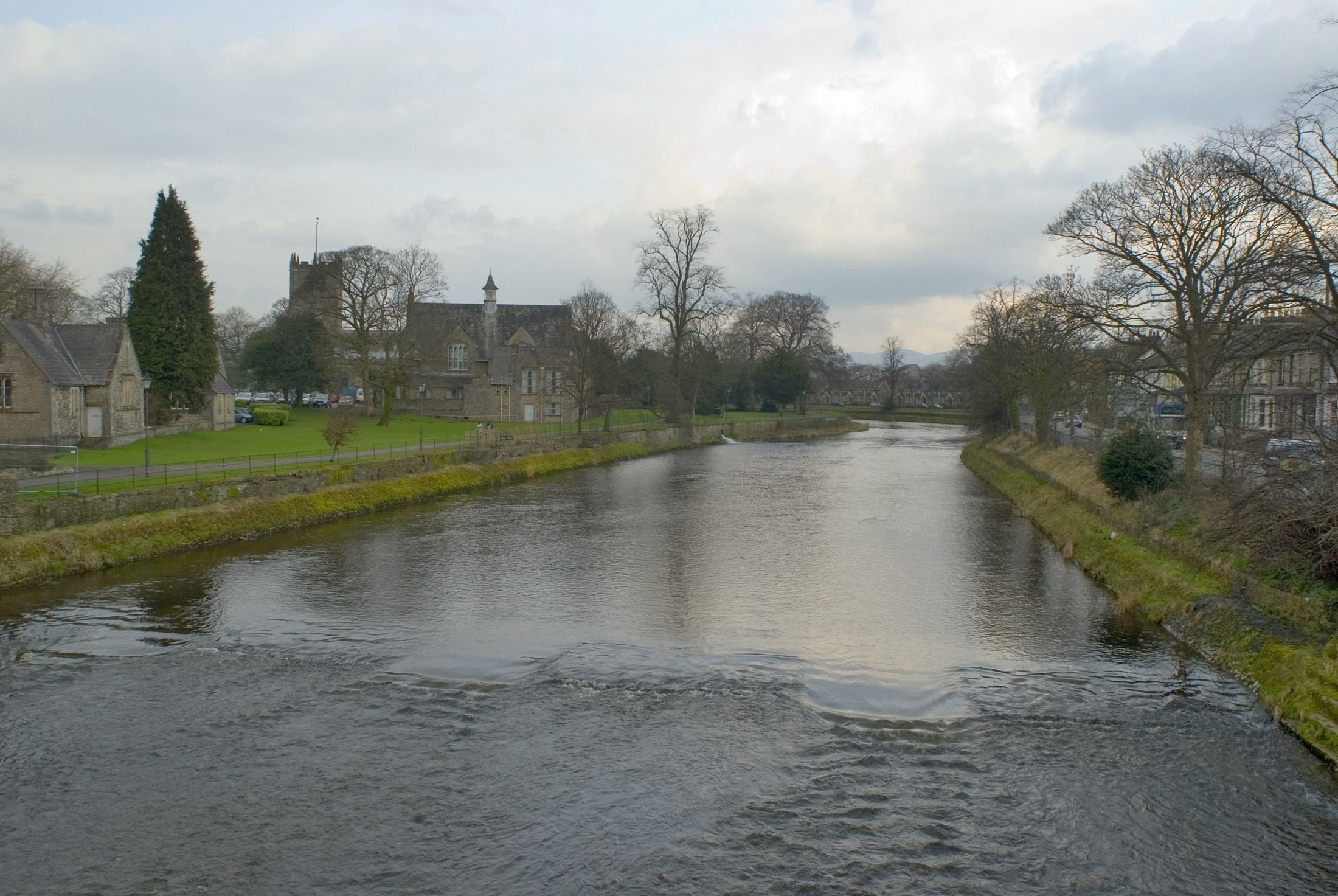 the river kent flowing through the south lakeland town of kendal