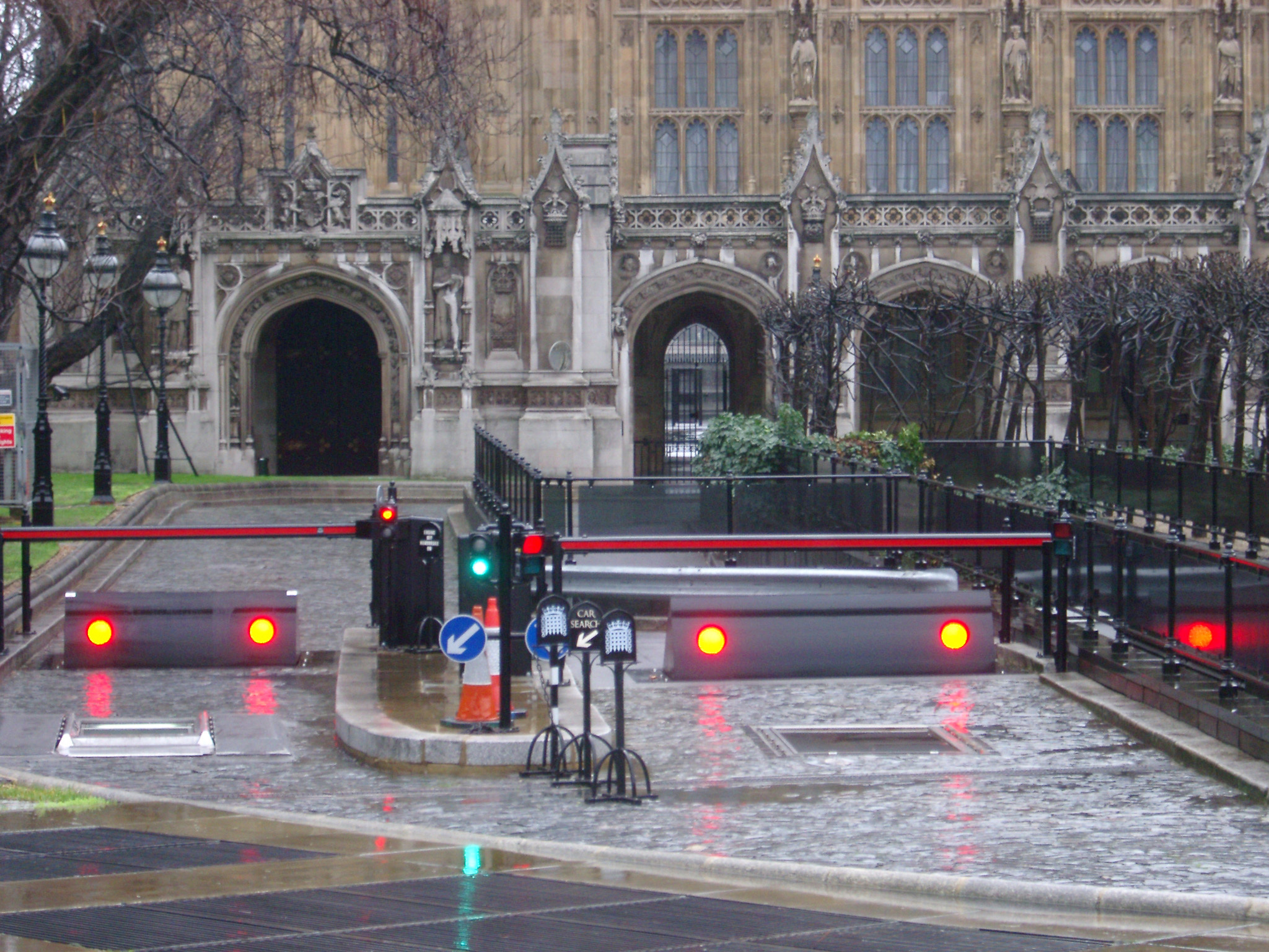 Security barricades and gate outside the Houses of Parliament in London
