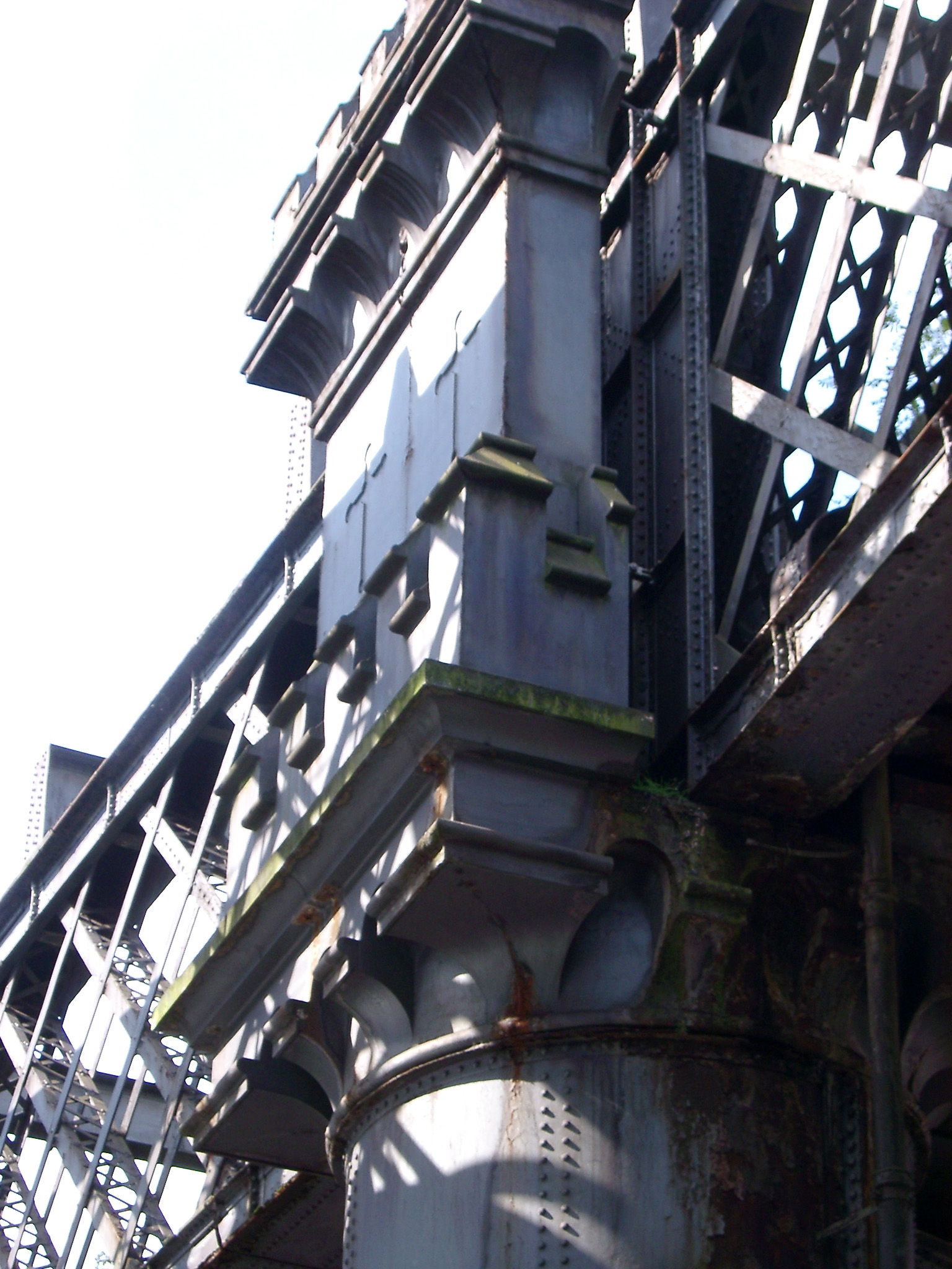 Details of an old iron railway bridge in the industrial conservation area of Castlefield, Manchester