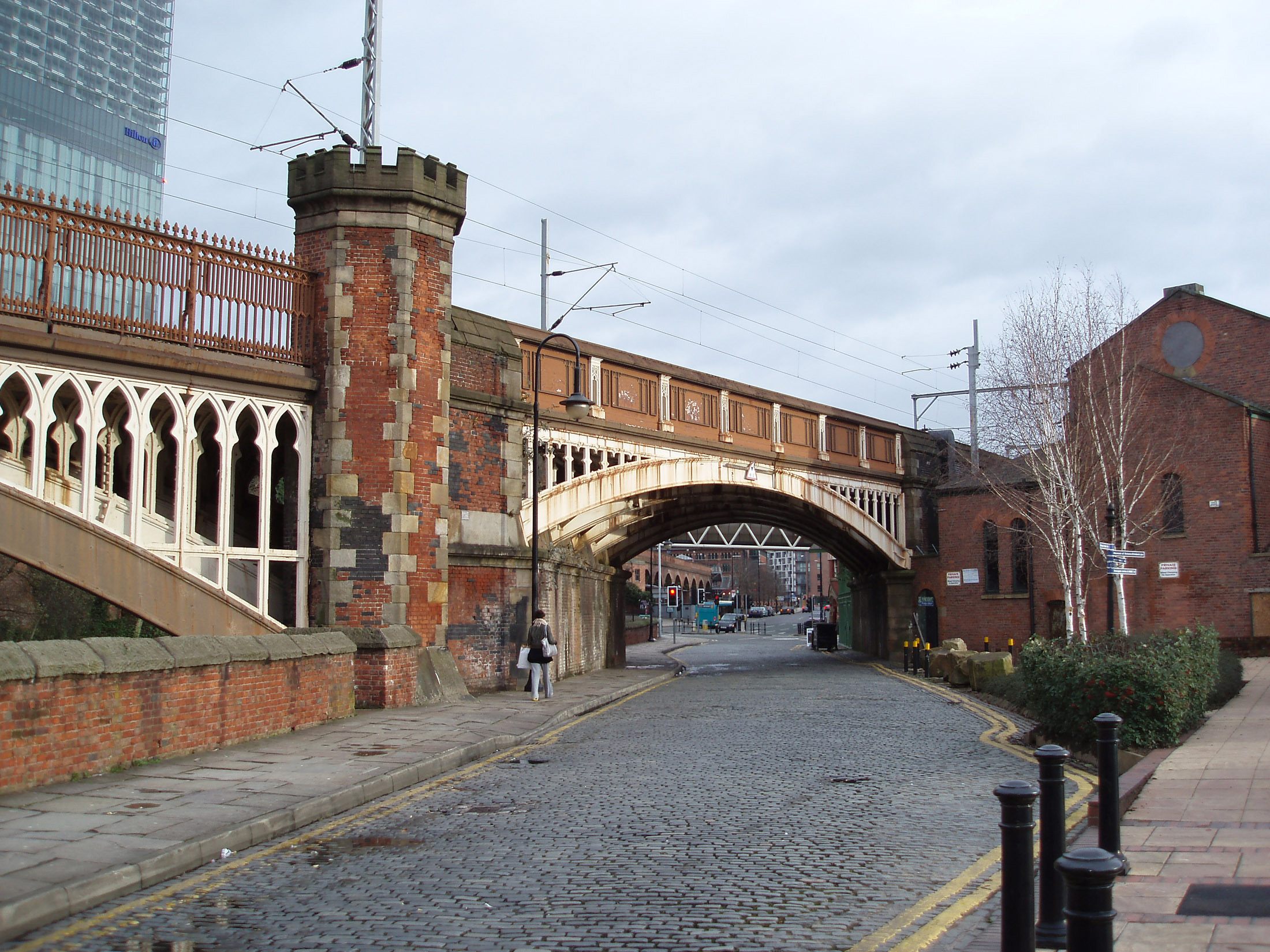 Castlefield, Manchester is an inner city conservation area that was the site of the ancient Mancunium Roman fort and the first Industrial Canal and warehouses