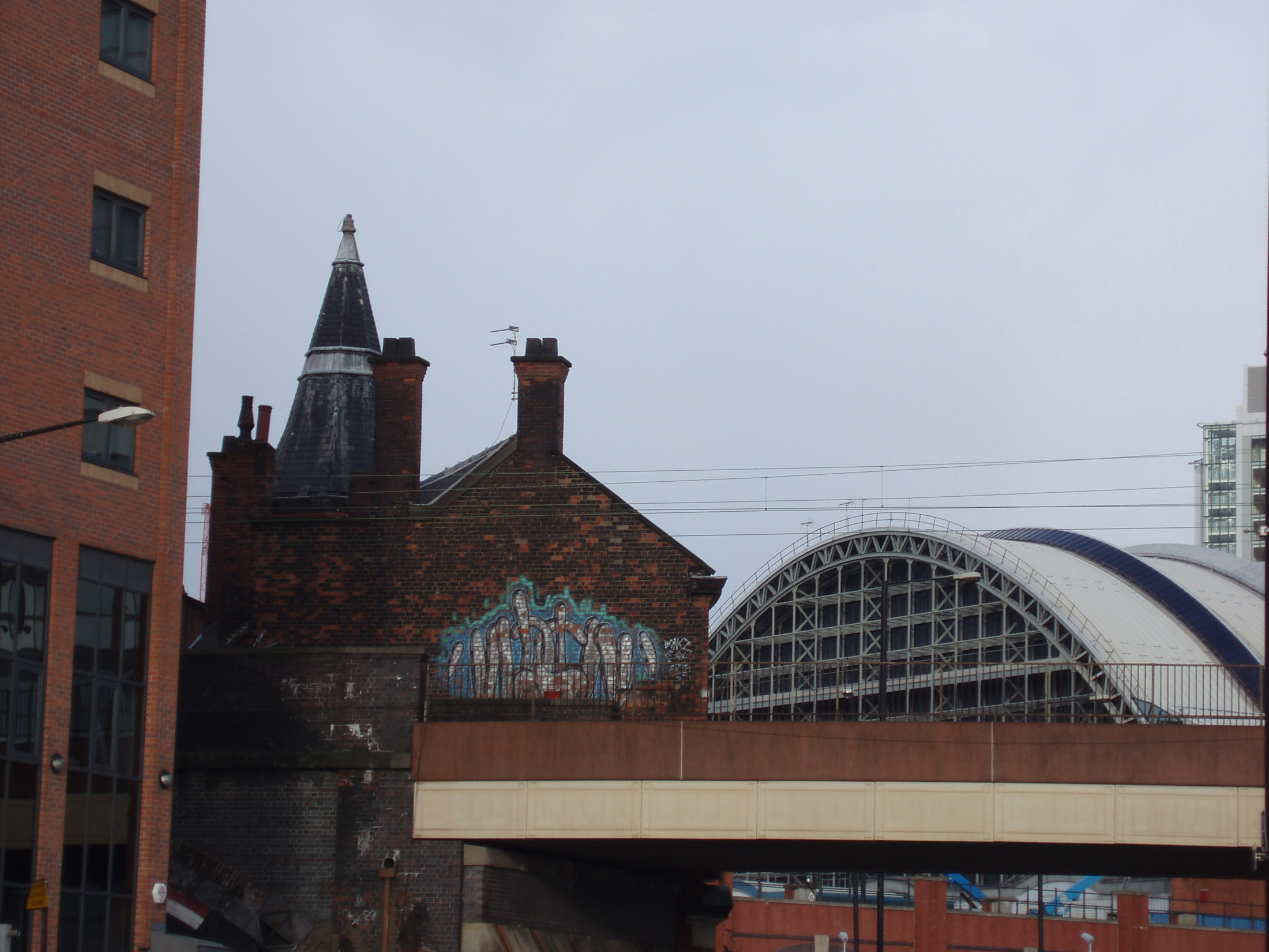 Exterior view of the facade of the Manchester Gmex centre, or Greater Manchester Exhibition Centre and Central Railway Station