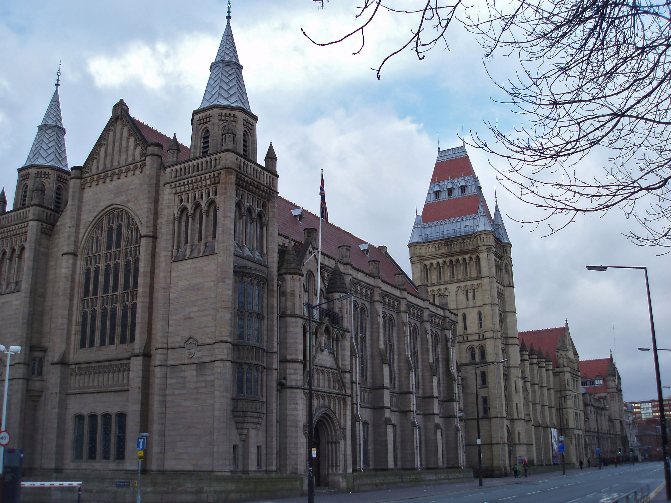 Exterior View of the historic Manchester University Building, a Large Research Center at Manchester, England.