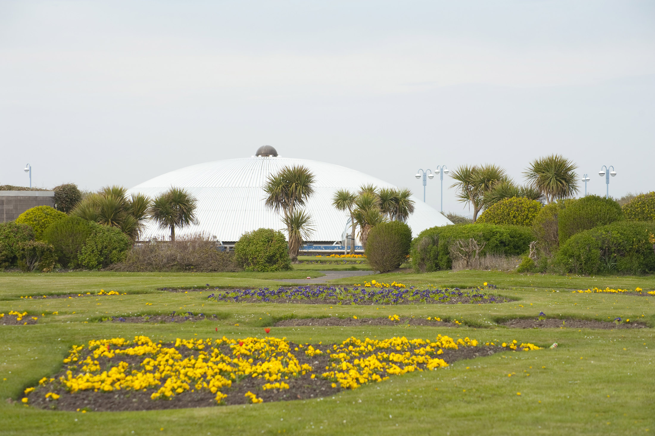 another view of the (no longer super) dome across some of morecambes once beautiful flower beds