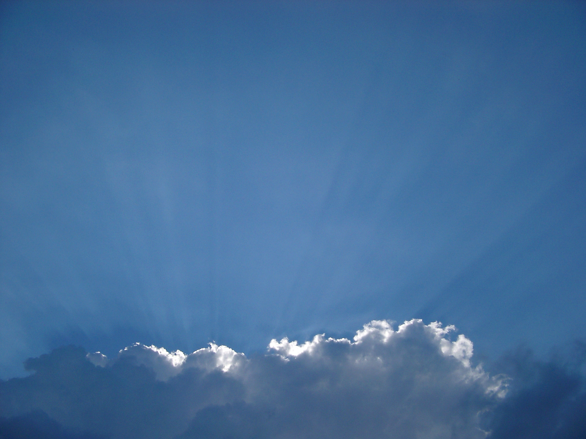 Bank of white clouds catching the rays of sunshine in a blue sky with copyspace for your text