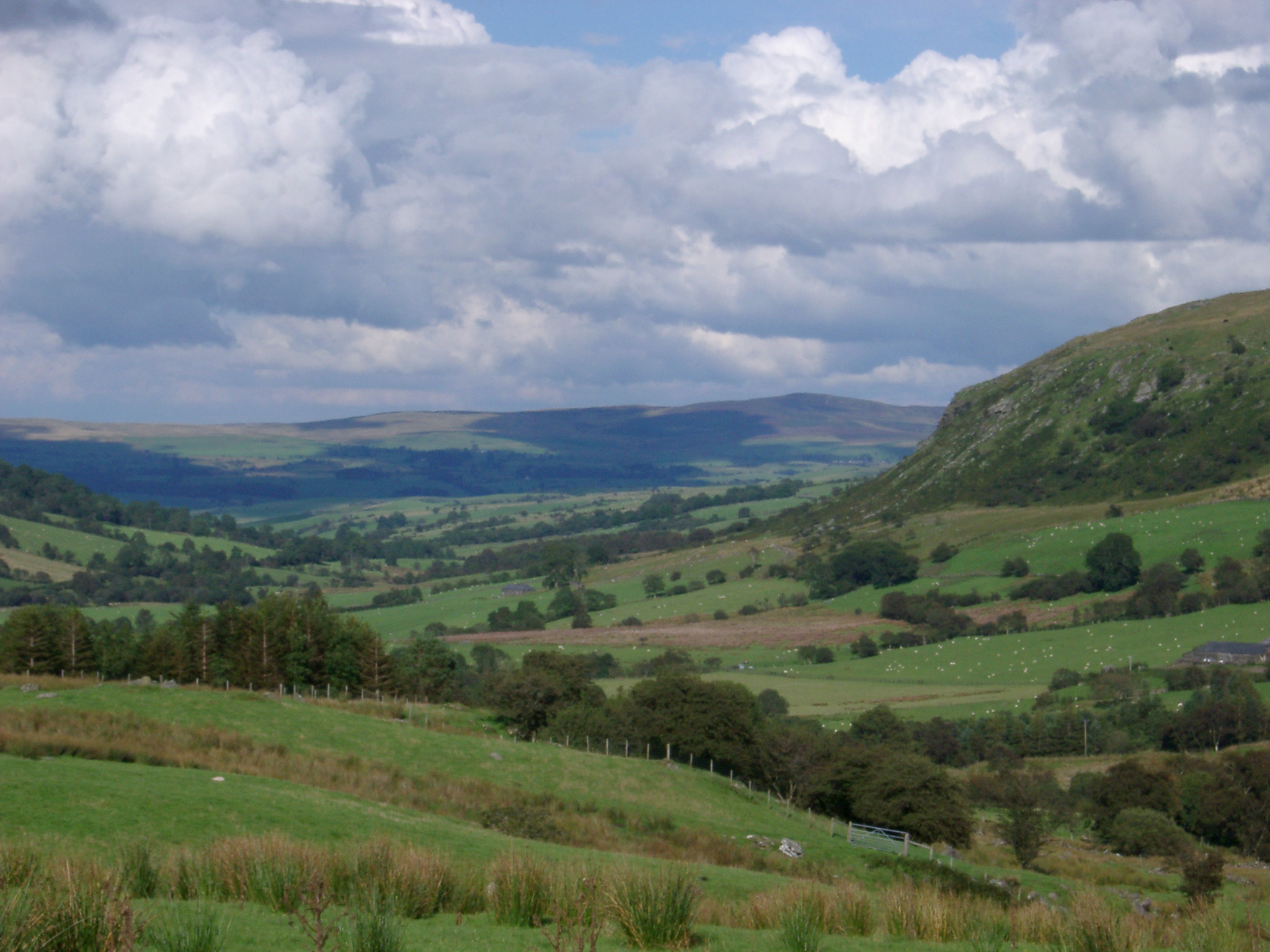 Scenic Lush Green Farmland and Rolling Welsh Hills with Puffy Clouds Overhead