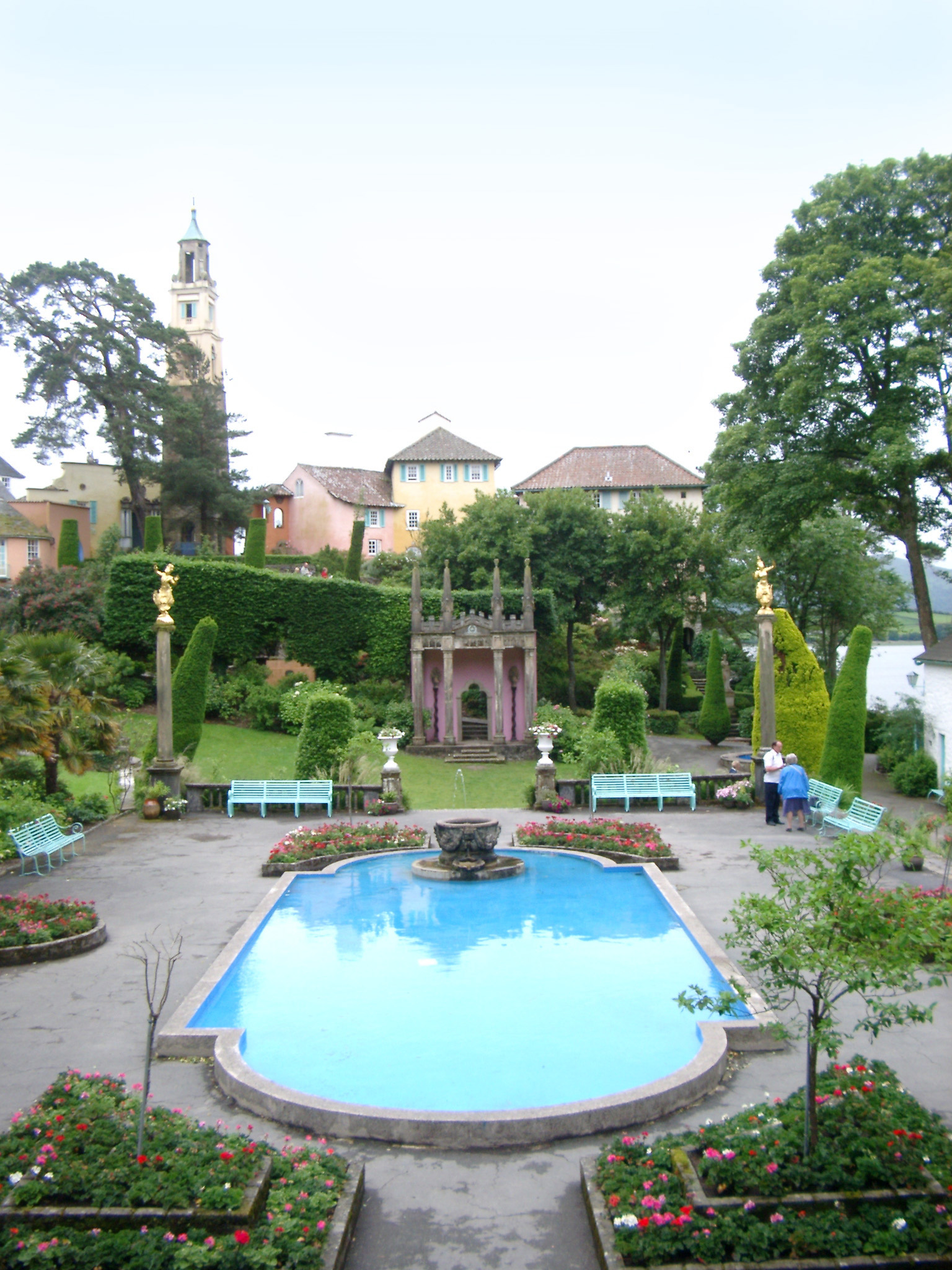 Swimming pool in Portmeirion, Wales, a romantic village styled on an Italian town and a popular tourist attraction