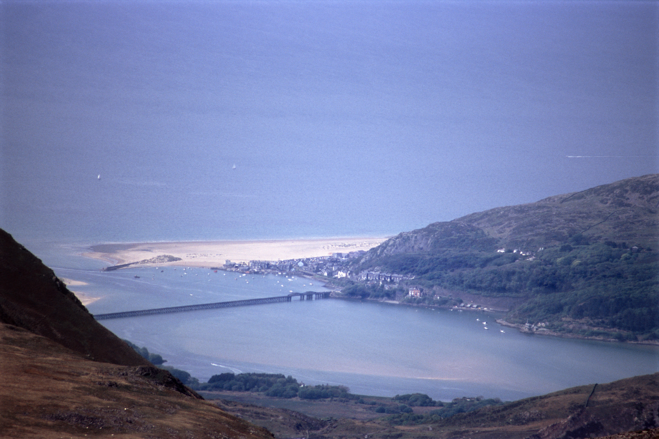 Overview of Coastal Barmouth with Beach and Estuary, Gwynedd, Wales