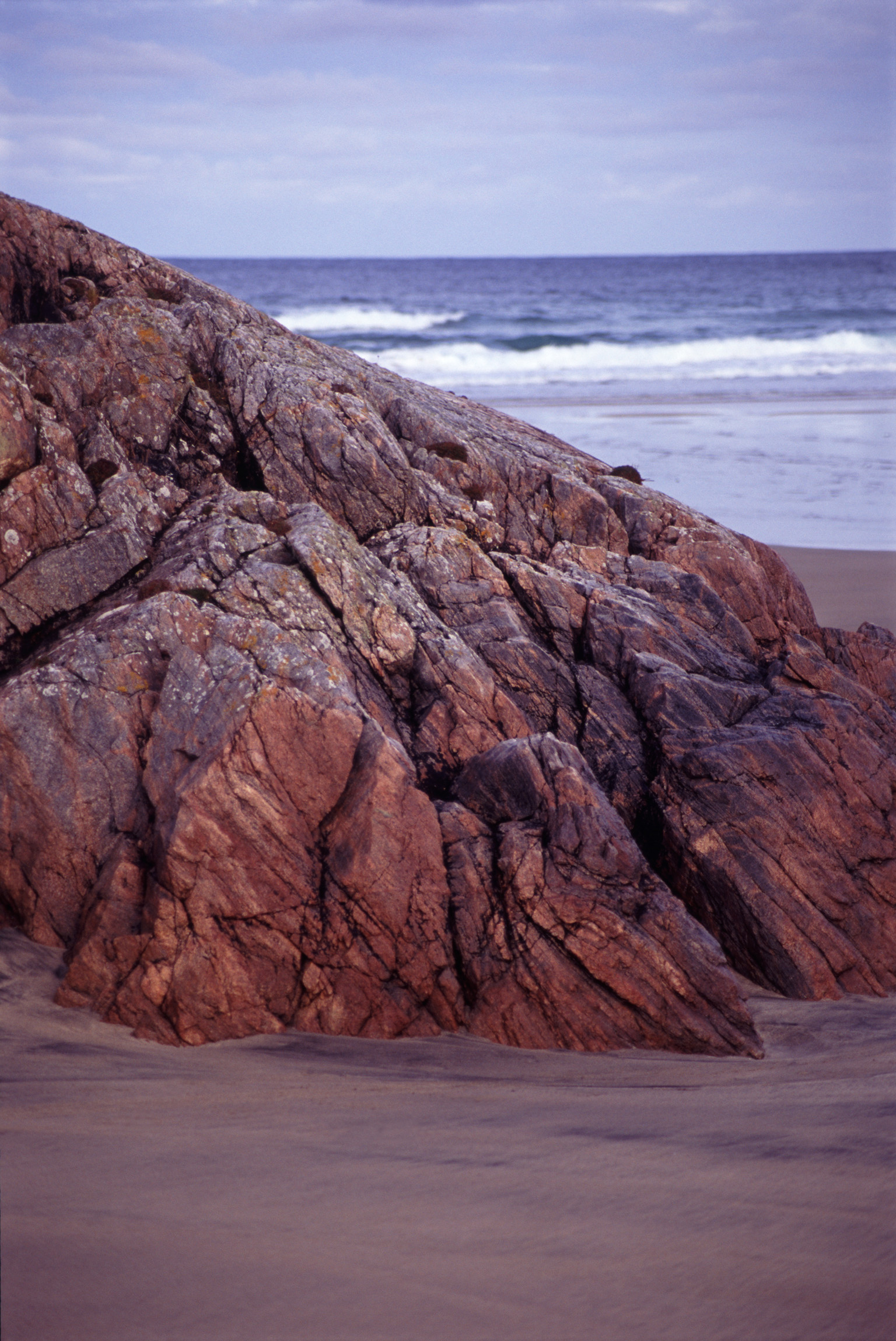 Coastal Rock Formation on Overcast Beach in Lewis, Hebrides, Scotland