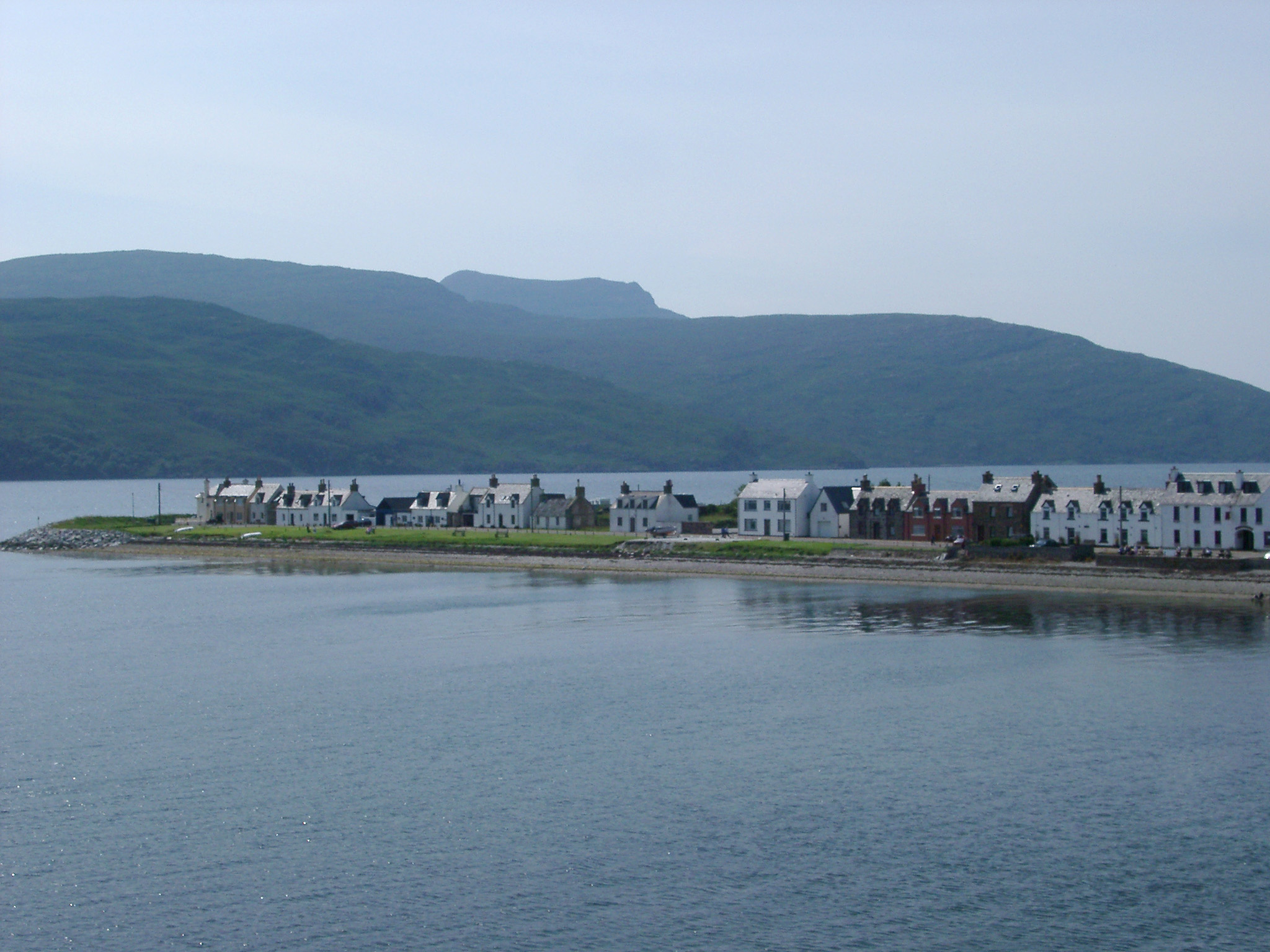 View of Ullapool on Shores of Loch Broom Overcast Day, Scottish Highlands, Scotland