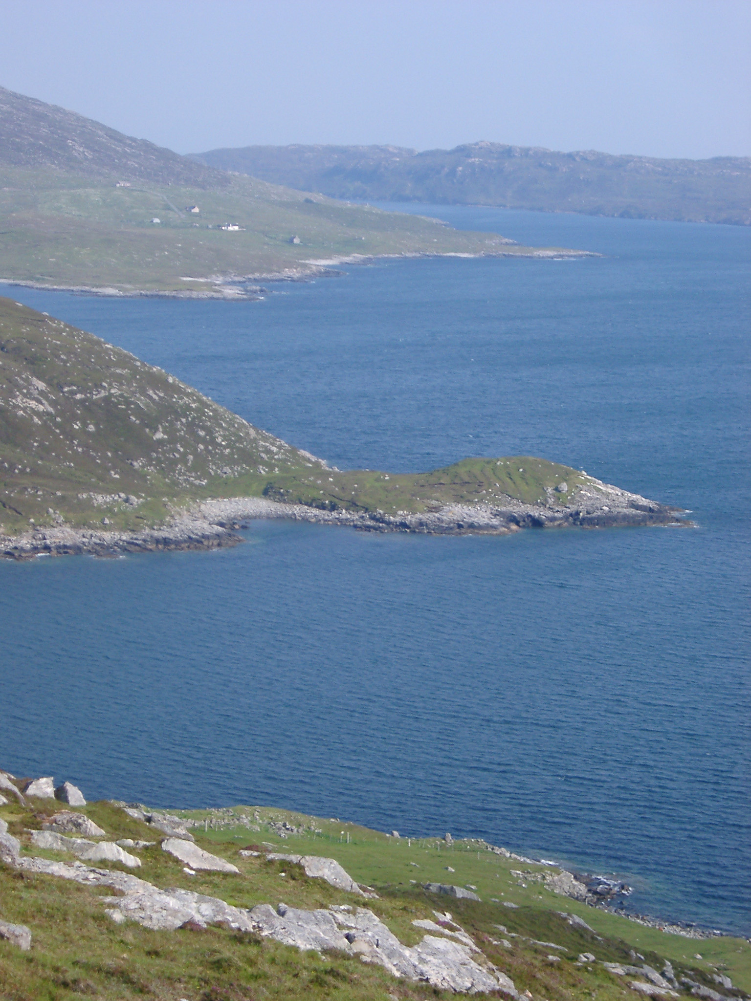 Overview of Rocky Scottish Loch Coastline with Rolling Banks