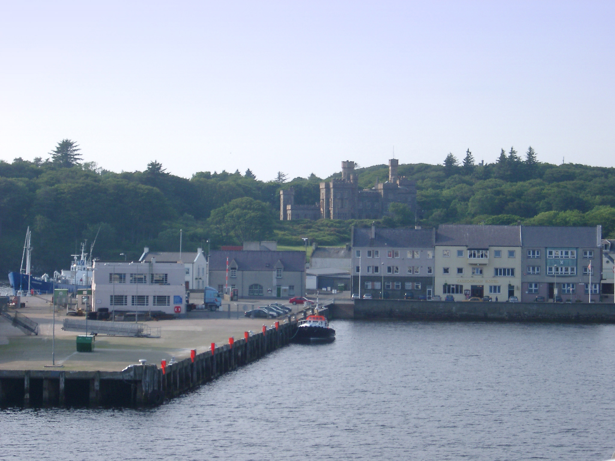 Coastal Village of Stornoway with Historical Lews Castle in Background, Isle of Lewis, Scotland