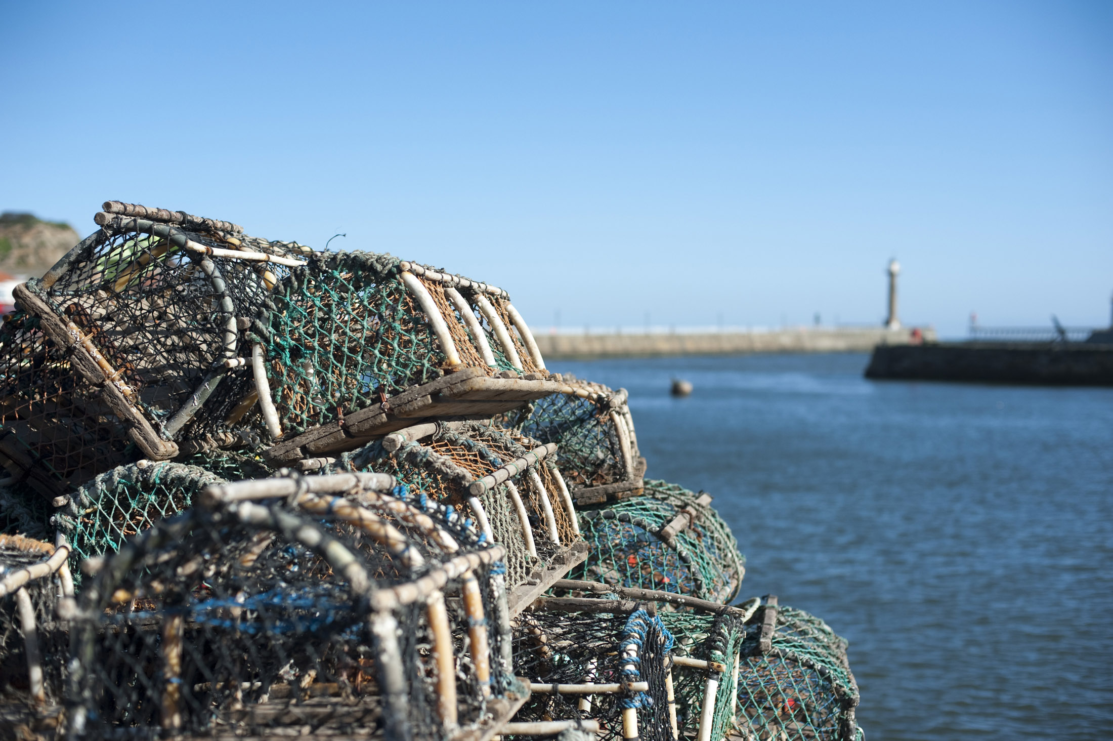 lobster or crab pots on the quayside in whitby harbor