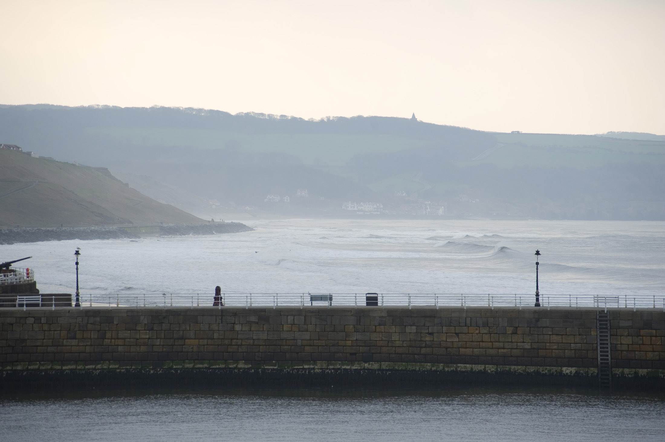 looking up the coast to sandsend in the distance from whitby
