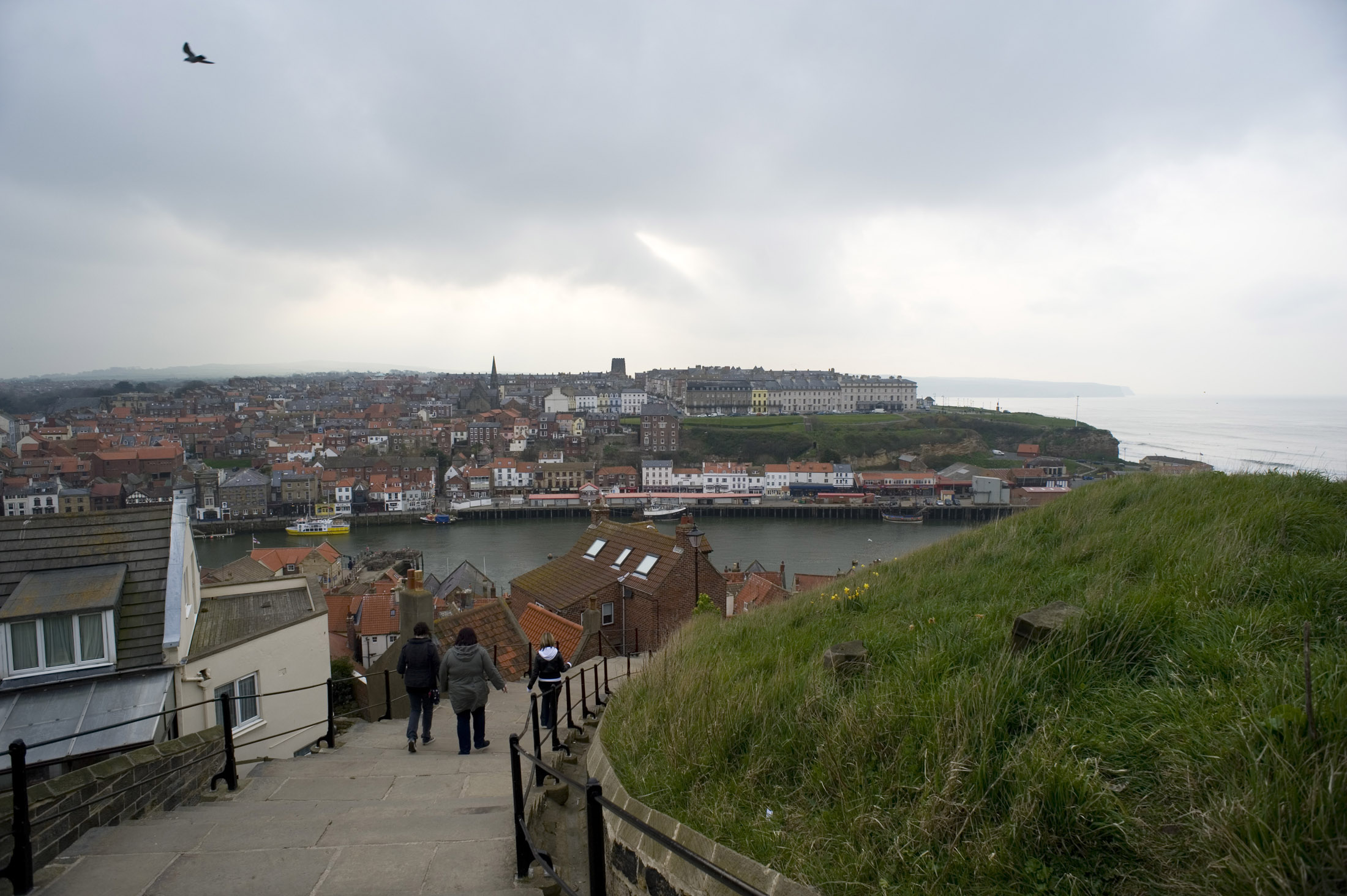 walking down whitbys famous 199 steps on a stormy day