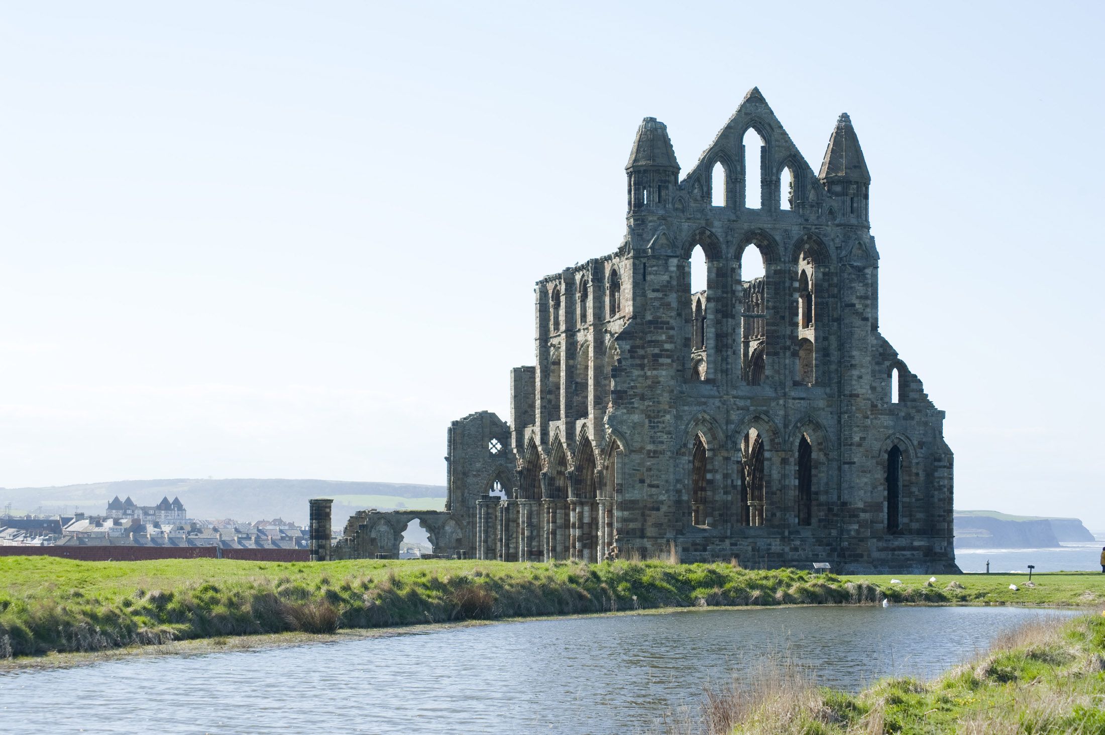 whitby abbey and pond
