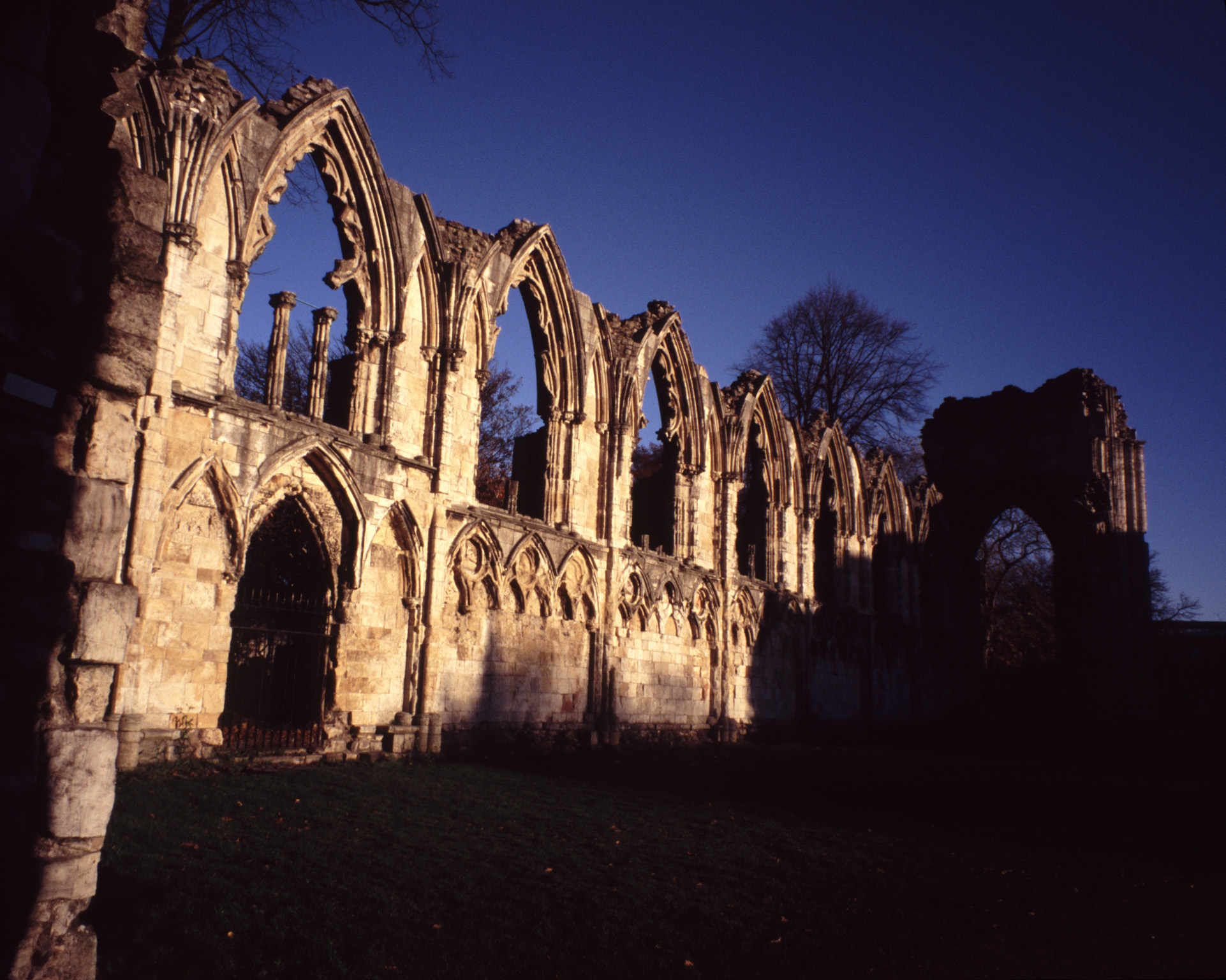 Historical Ruins of St Marys Abbey Church with Dark Shadows, York, England