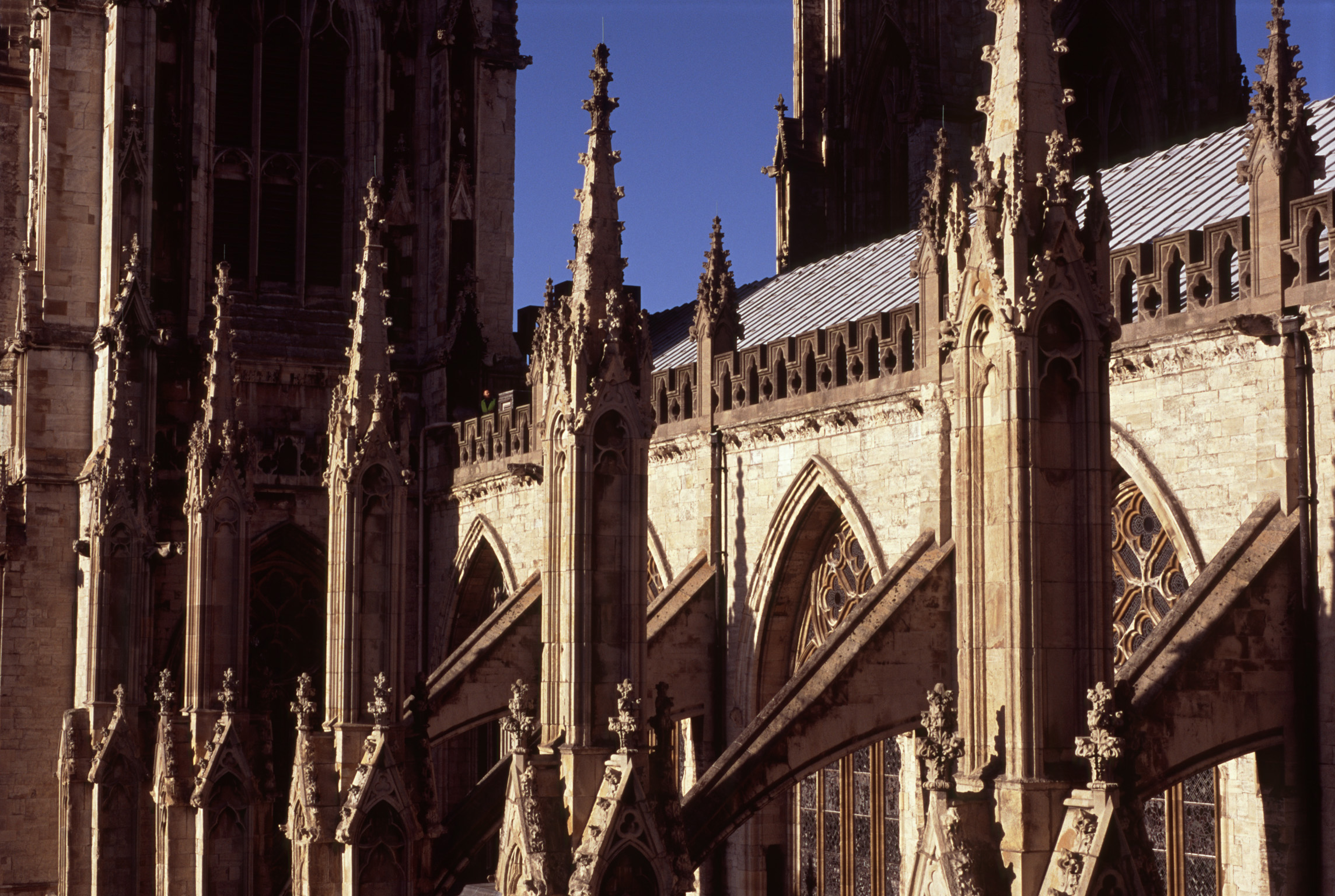 free stock photo of architectural detail of a minster  - architectural detail of a minster showing the flying buttresses on theexterior of the building each