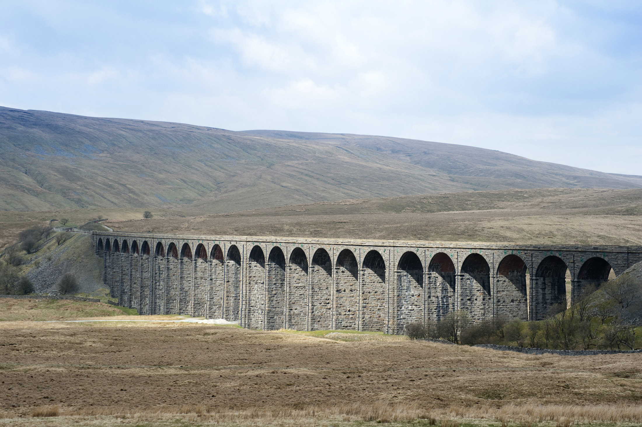 24 stone arches crossing the ribble valley make up the ribblehead viaduct