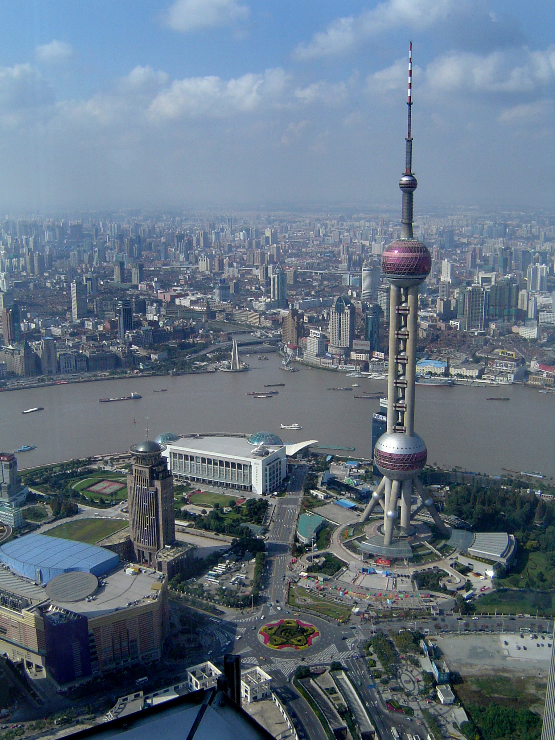 Famous Architectural Oriental Pearl Tower at the City of China in Aerial View.