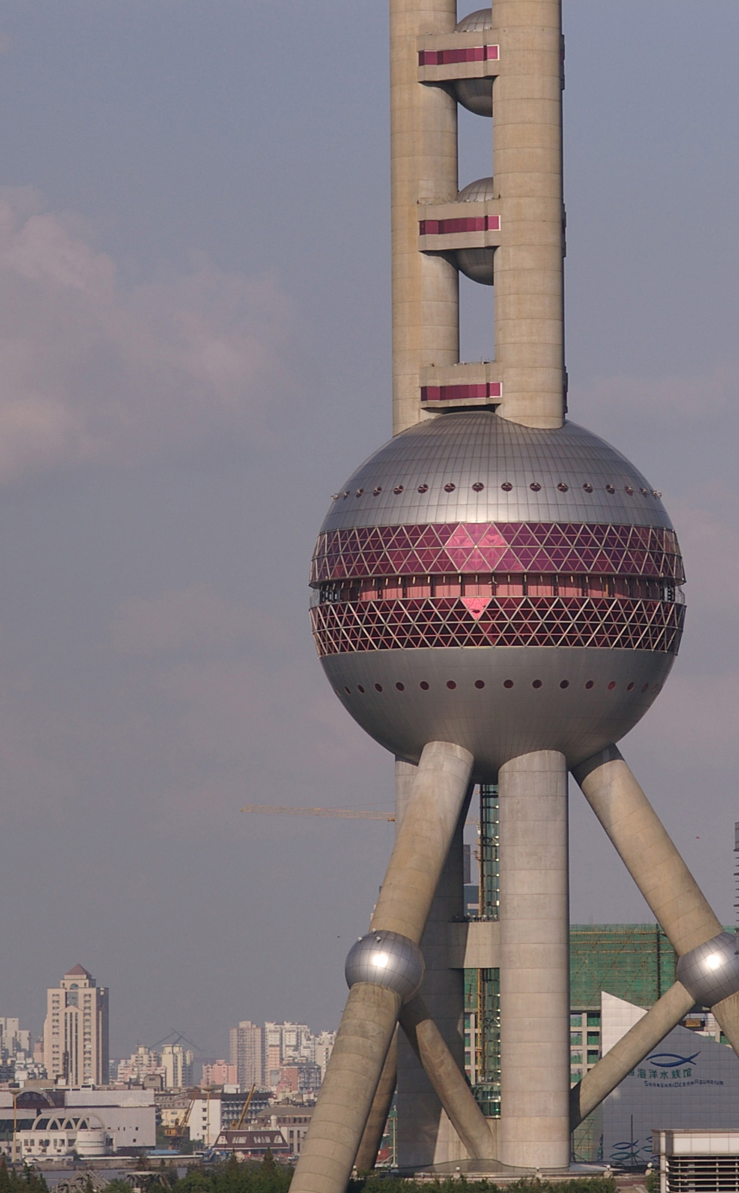 Close up Famous Chinese Attraction - Oriental Pearl Tower at Shanghai China