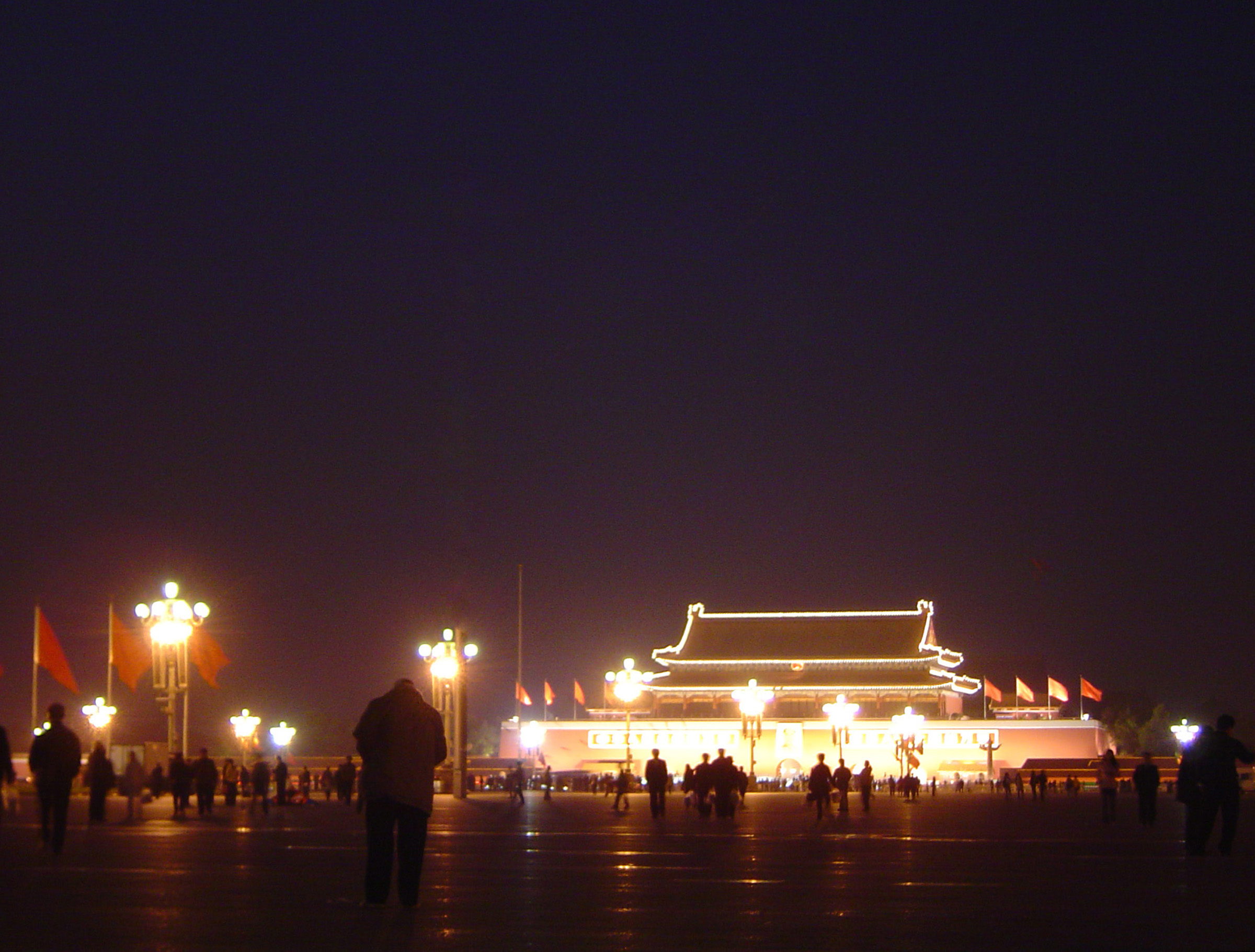 Beautiful Lights of Forbidden Palace in Beijing China at Night Time. Captured with Random Tourists.