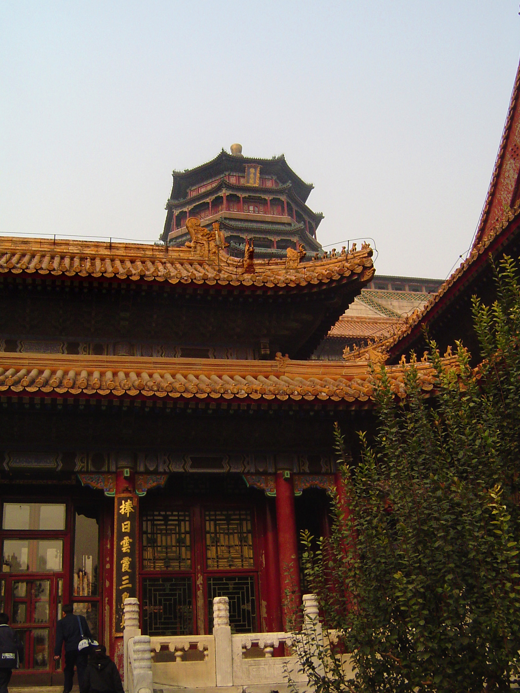 Famous Historic Architectural China Temple Building Captured in Lighter Blue Gray Sky Background.