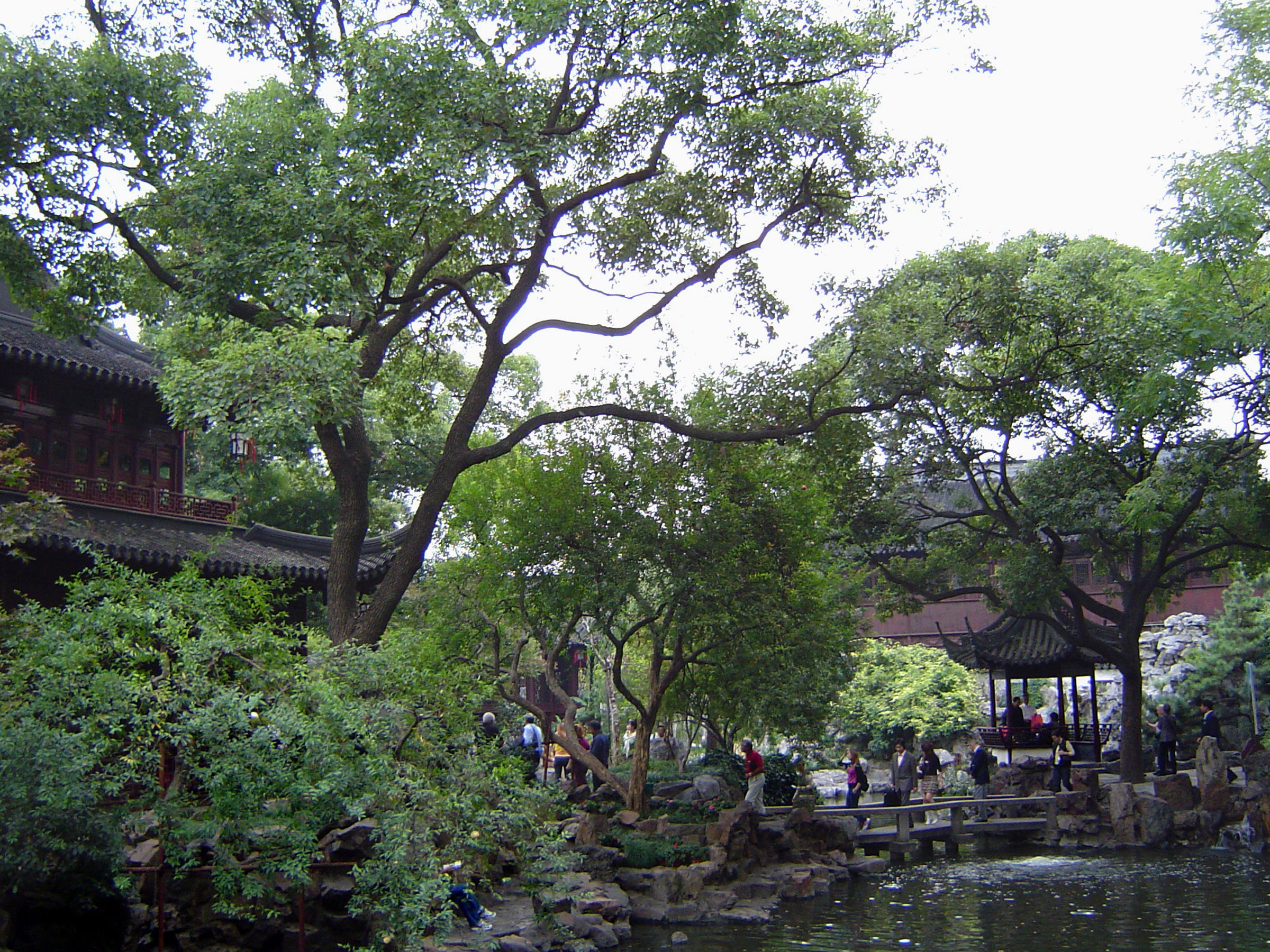 Tall Green Trees and Traditional Structures at Chinese Gardens in Shanghai